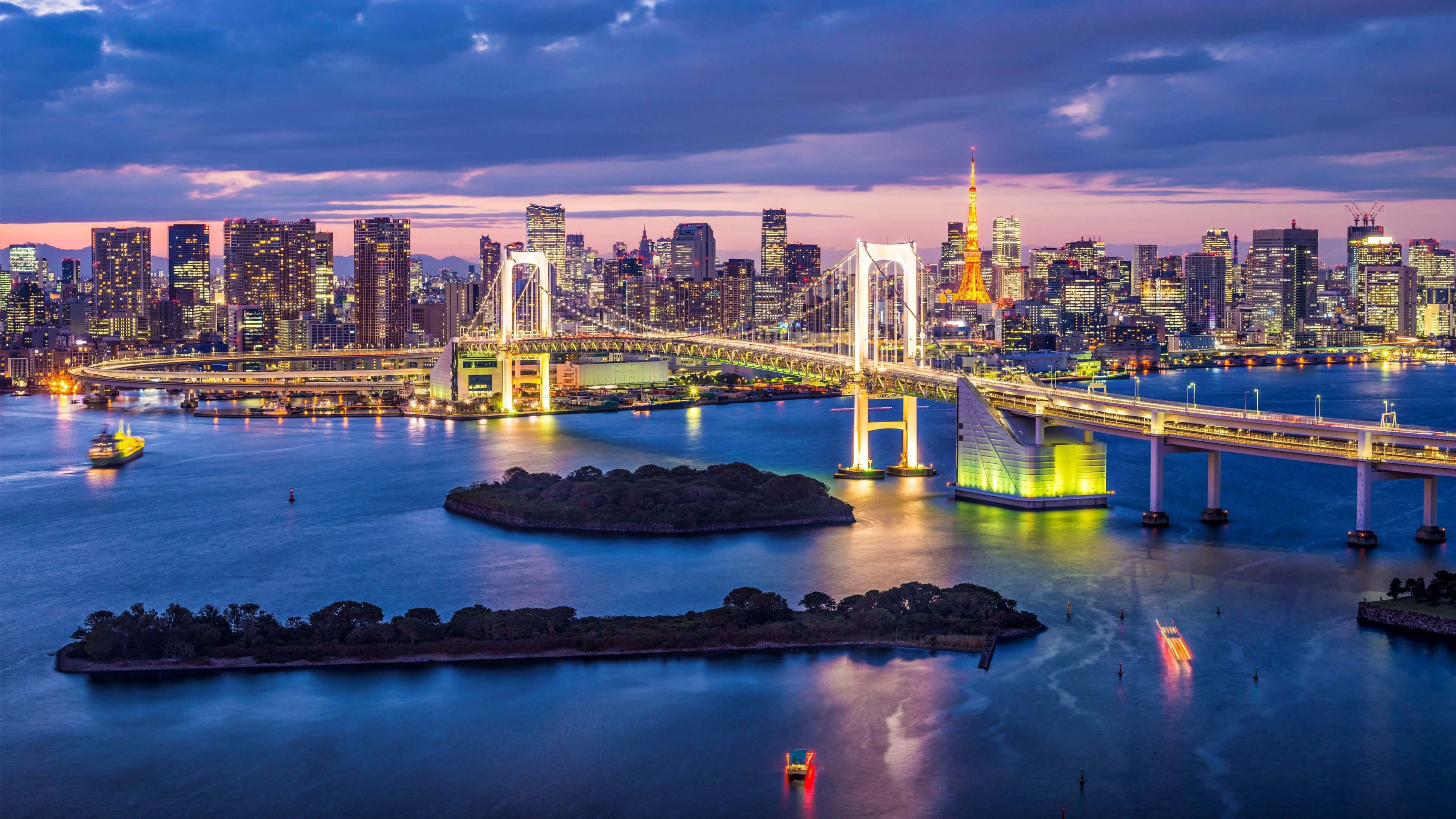 Res: 3840x2160, rainbow bridge tokyo japan uhd 4k wallpaper