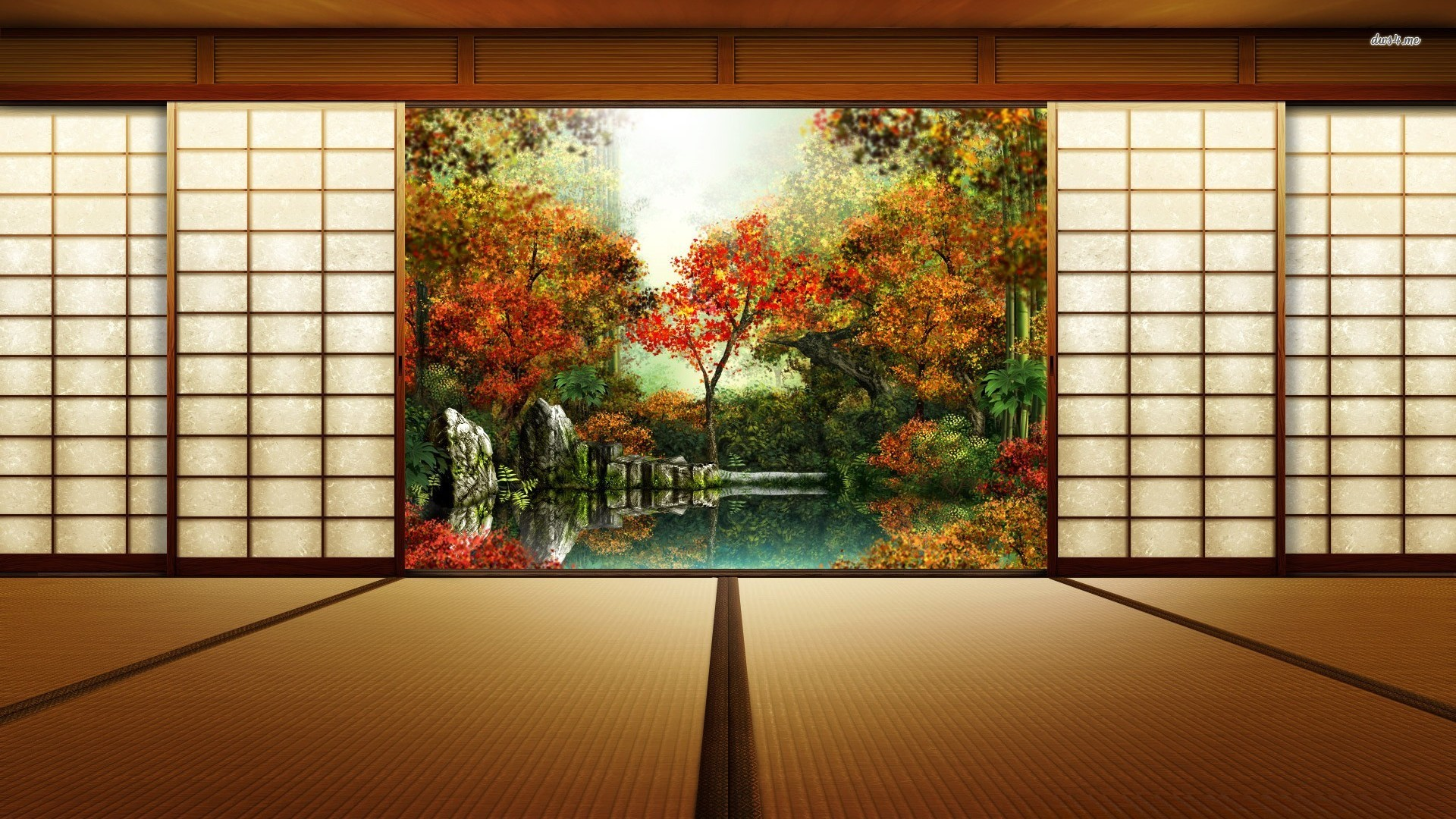 Res: 1920x1080, Gardens Wallpaper: Japanese Room Wallpaper Digital Art Wallpapers .