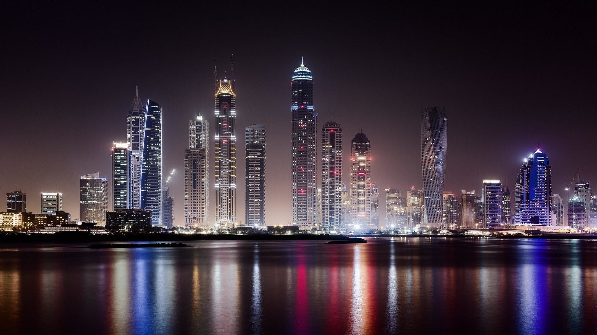 Res: 1920x1080, Dubai At Night From Business Bay Wallpaper | Wallpaper Studio 10 | Tens of  thousands HD and UltraHD wallpapers for Android, Windows and Xbox