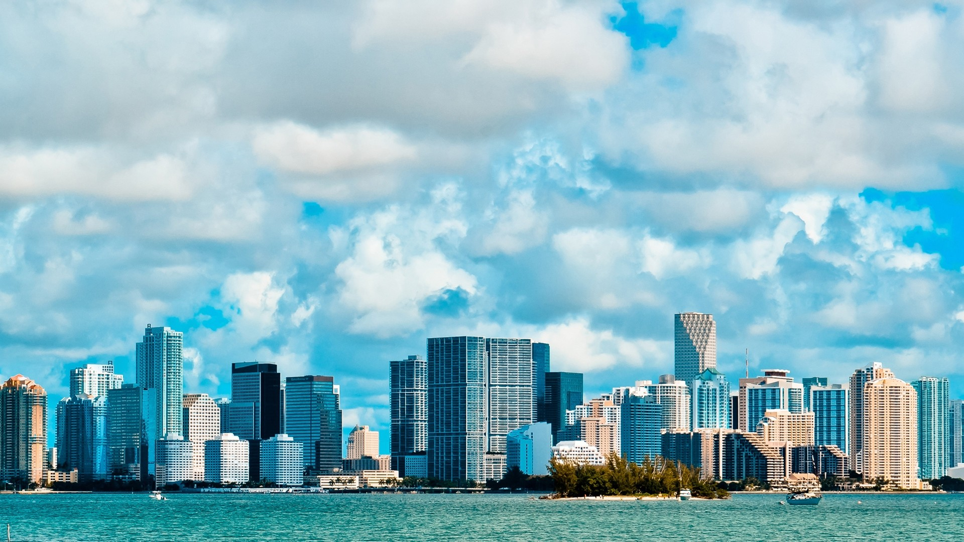 Res: 1920x1080, ... miami business center overcast ocean side view ...