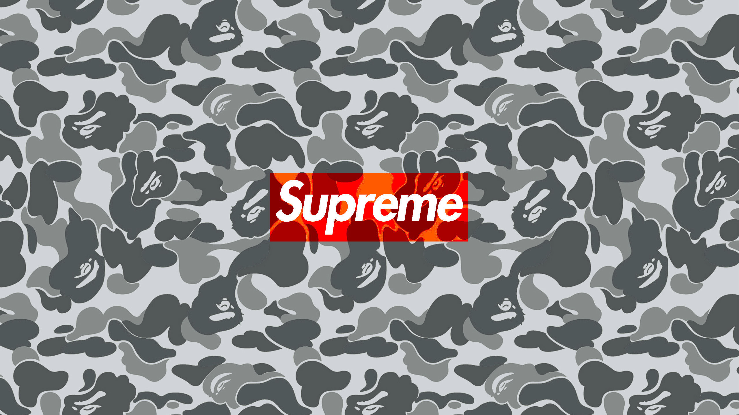 Res: 2560x1440, Download the Supreme Bape Camo wallpaper below for your mobile device  (Android phones, iPhone etc.)