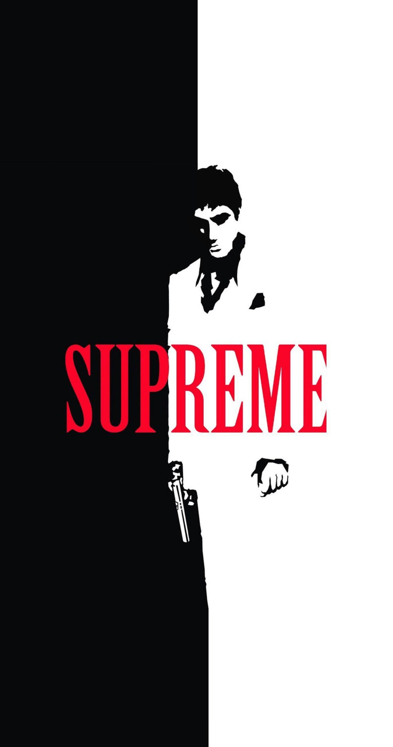 Res: 1370x2601, Scarface x Supreme Split IPhone Wallpaper