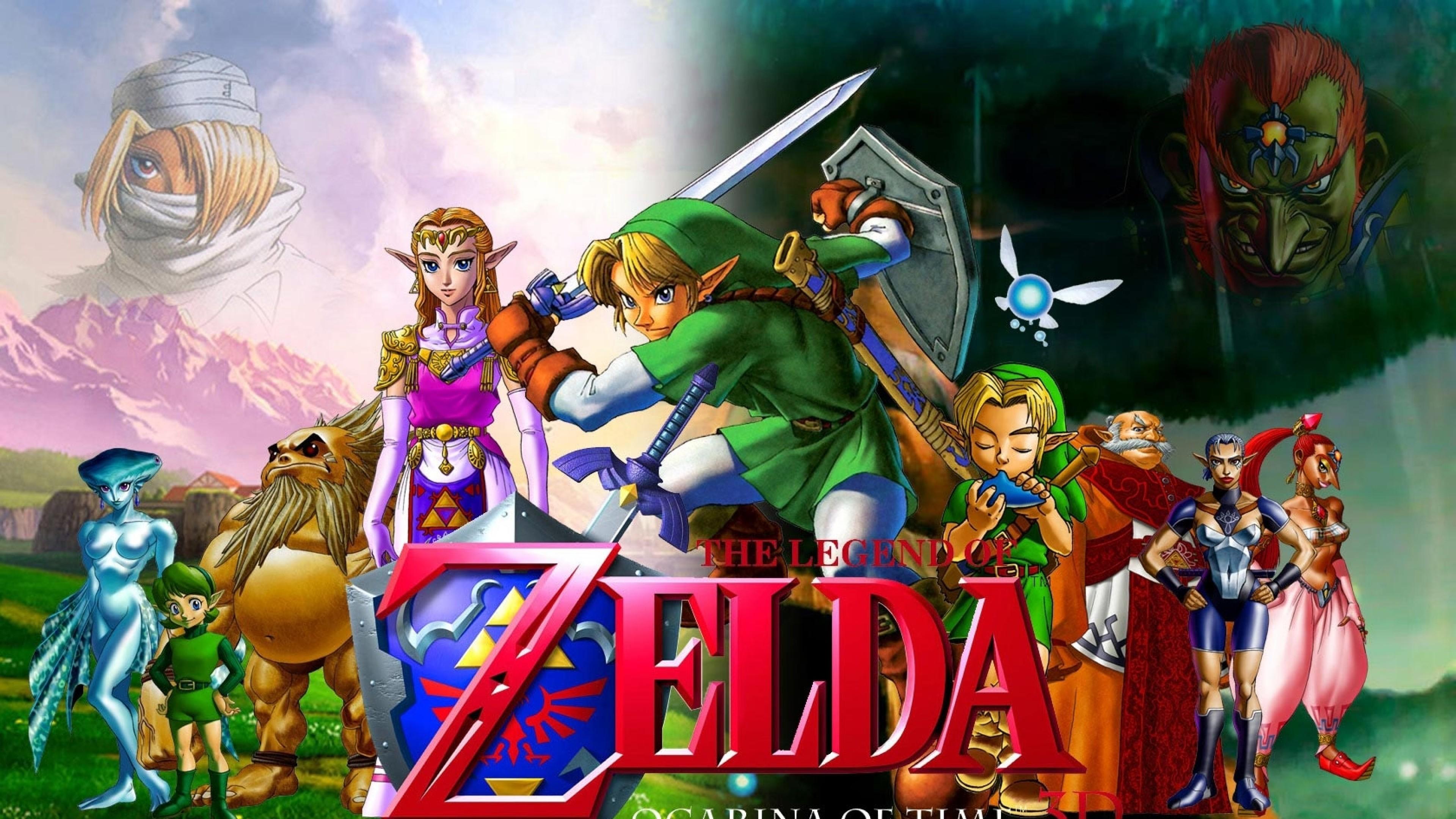 Res: 3840x2160,  Preview wallpaper the legend of zelda, characters, faces, swords,  zelda