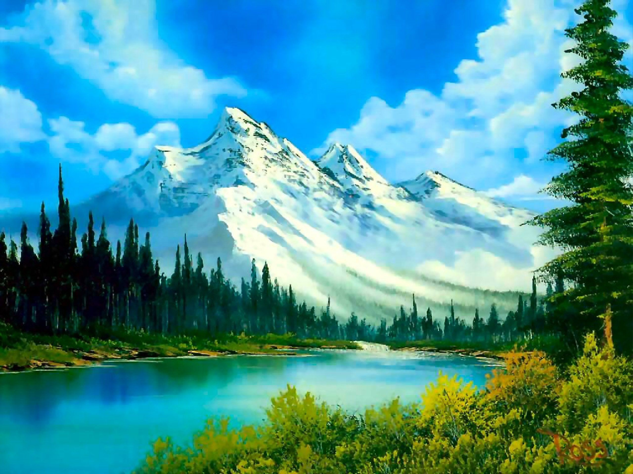 Res: 2560x1920, Peaceful Landscape Paintings by Bob Ross - Bob Ross Paintings : Mountain  Waterfall 22