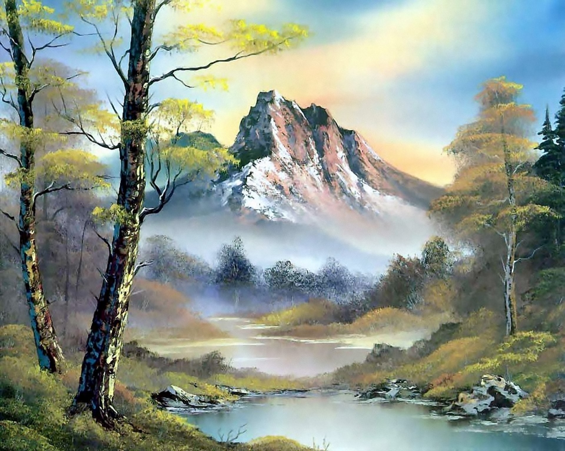 Res: 1920x1534, painting bob ross pattern landscape nature mountain river water forest tree  sky clouds