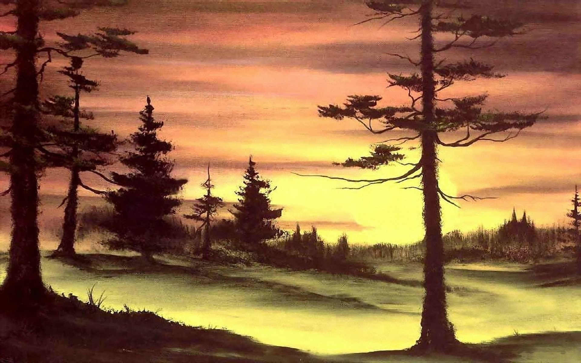 Res: 1920x1200, painting bob ross pattern nature sunset sun forest tree