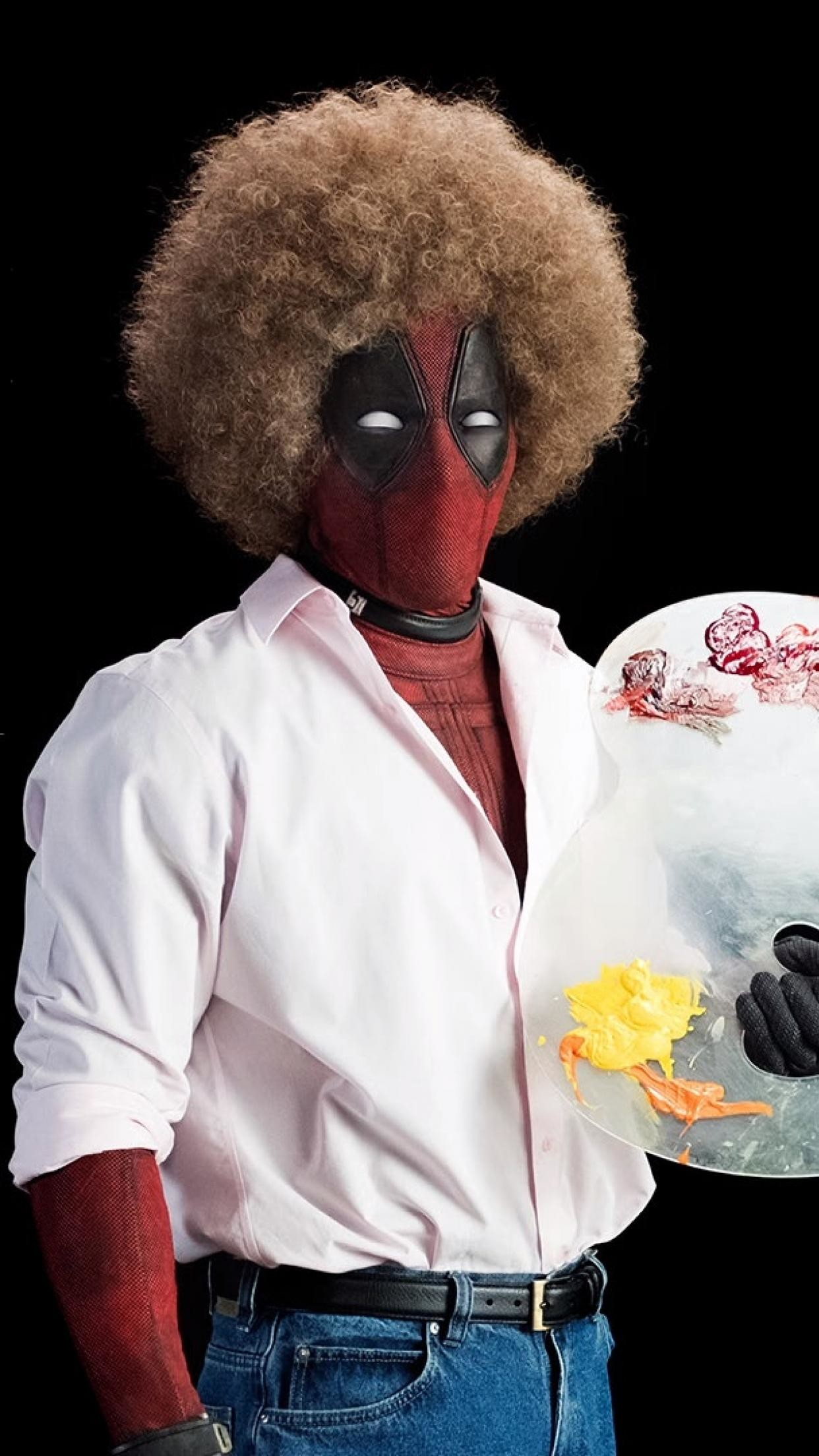 Res: 1242x2208, ... wallpaperiphone6 750x1334 wallpaperiphone5 640x1136 wallpaperiphone4  640x960 wallpaper. Wallpaper information about Deadpool dressed as Bob Ross