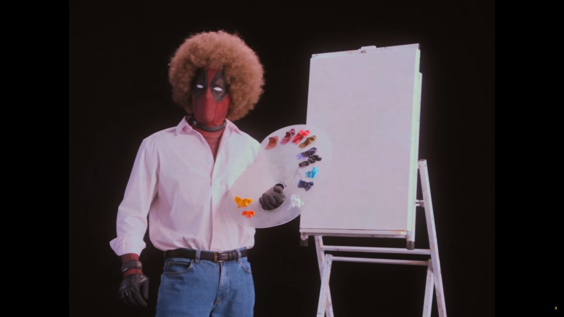 Res: 1920x1080, We've been waiting awhile to see more footage of Deadpool 2, and today we  got our wish in spades. Dressed as legendary painter Bob Ross, Deadpool  takes us ...