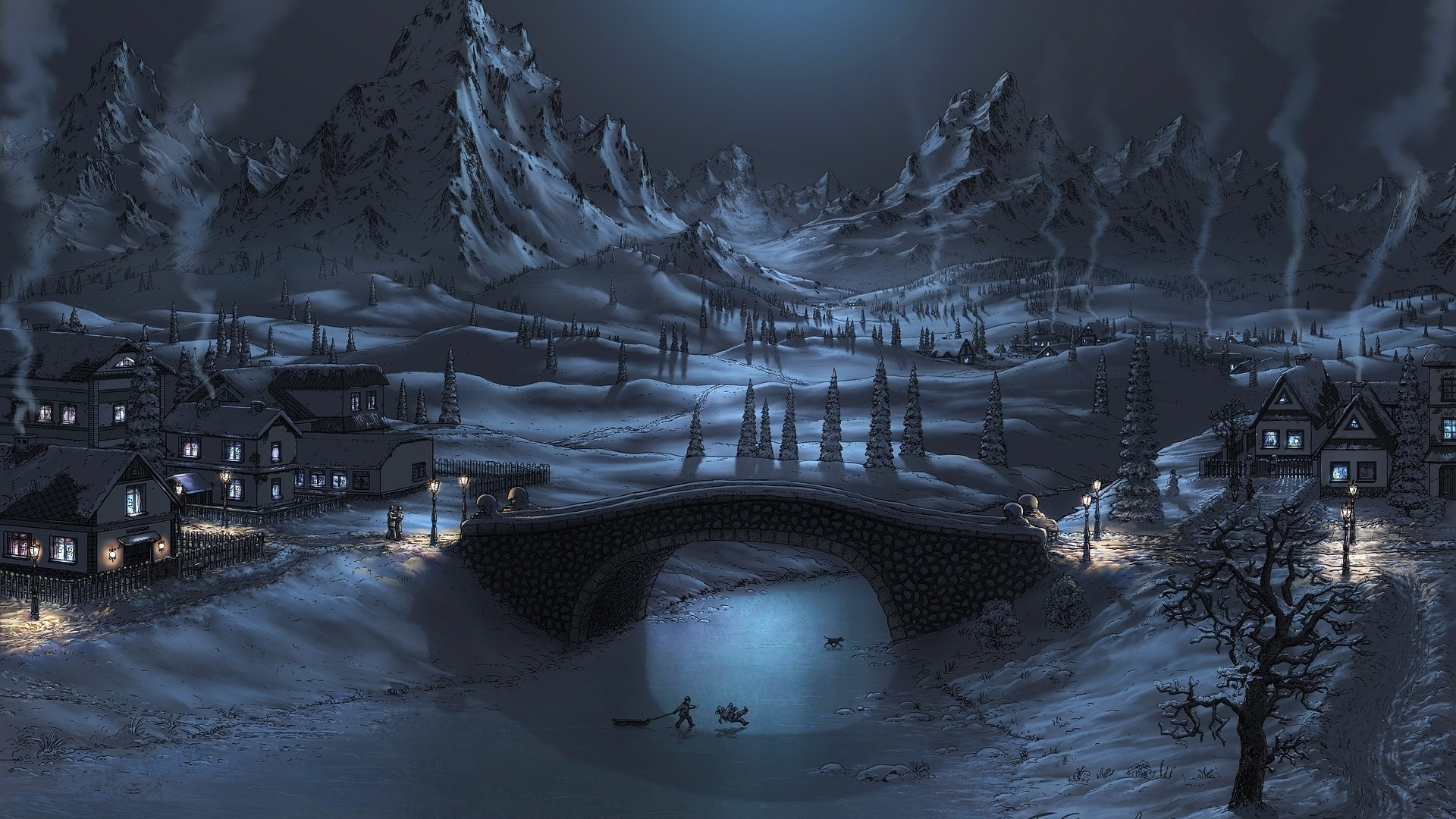 Res: 1920x1080, Night Winter Landscape Wallpaper Desktop Wallpaper