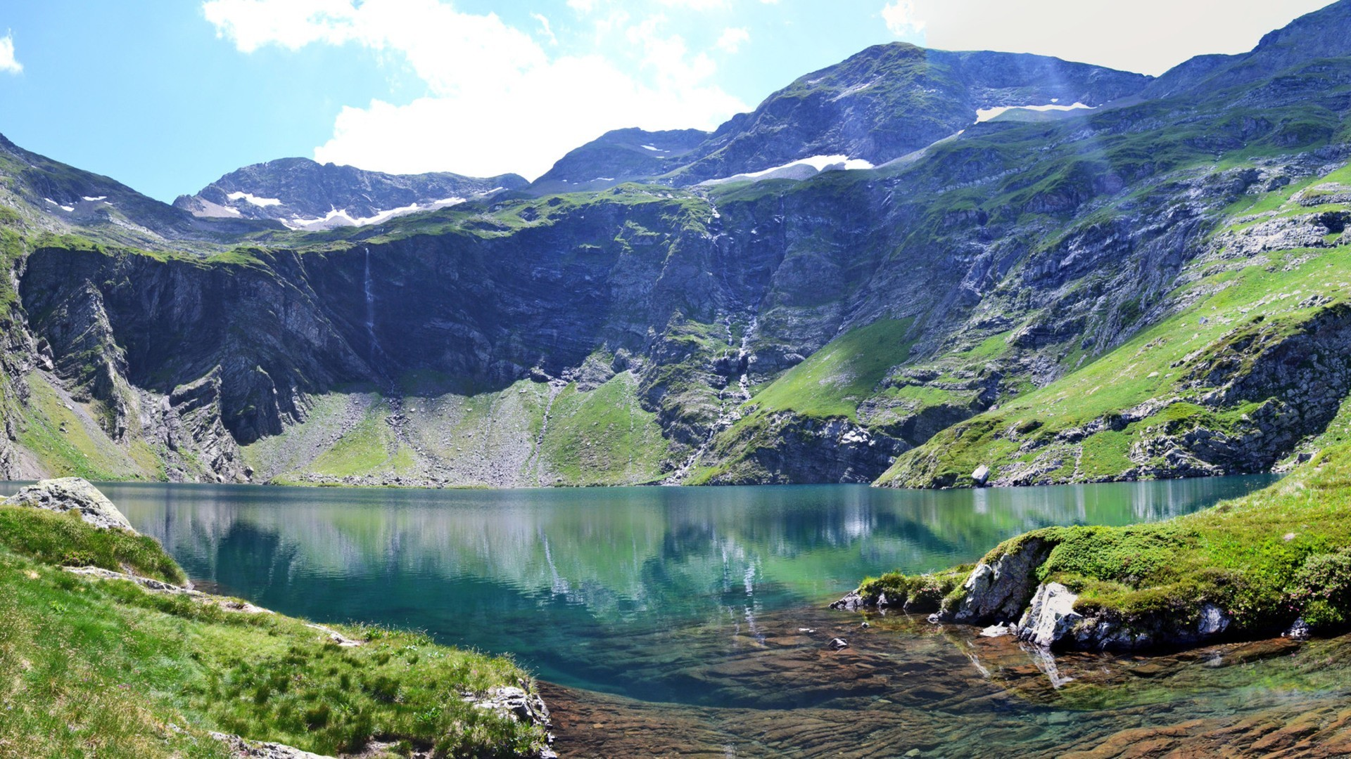 Res: 1920x1080, #111122 Color - Gorgeous Mountain Lake French Pyrenees Cliff Clear  Mountains France Pyrnes Grass Wallpaper
