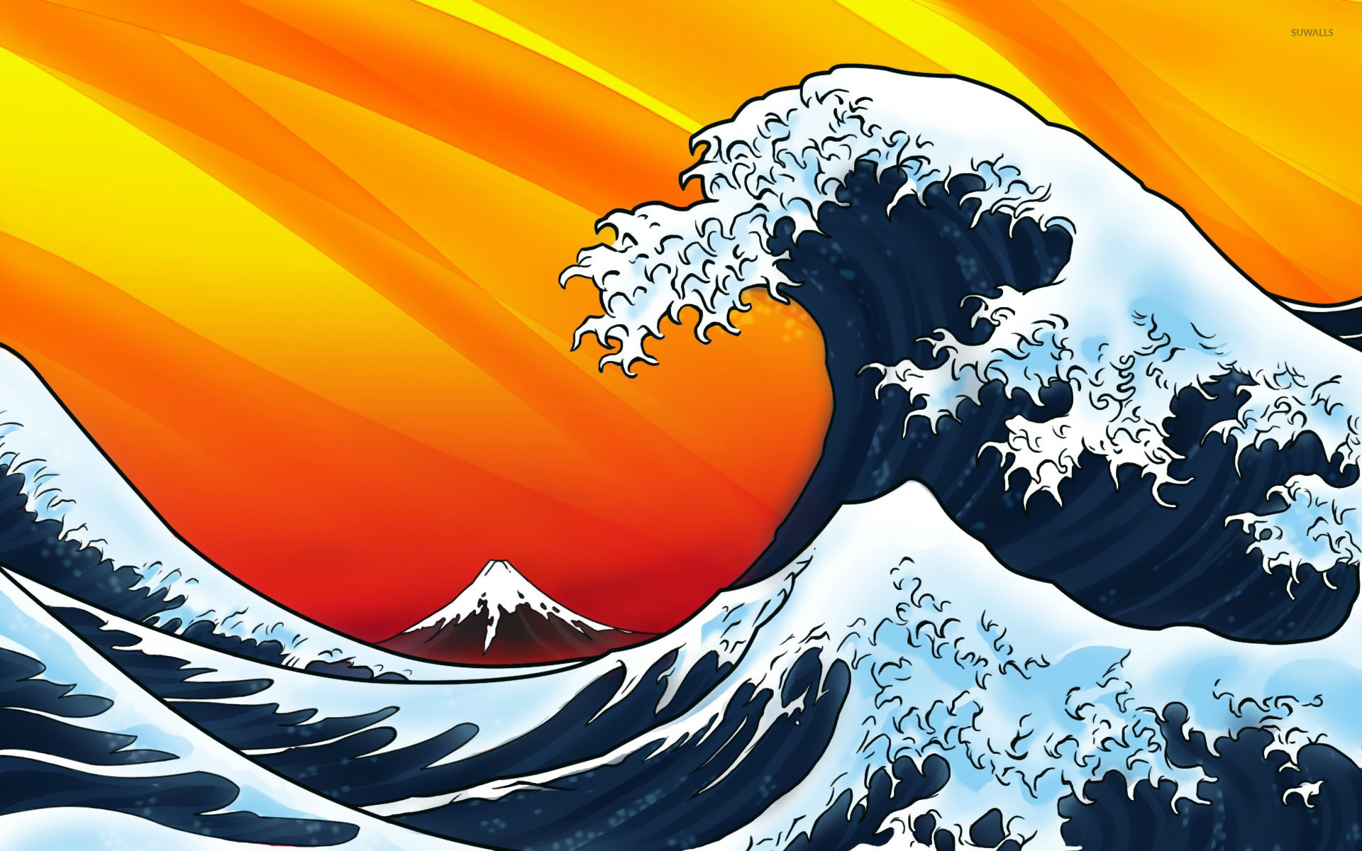 Res: 1920x1200, Japanese style waves wallpaper