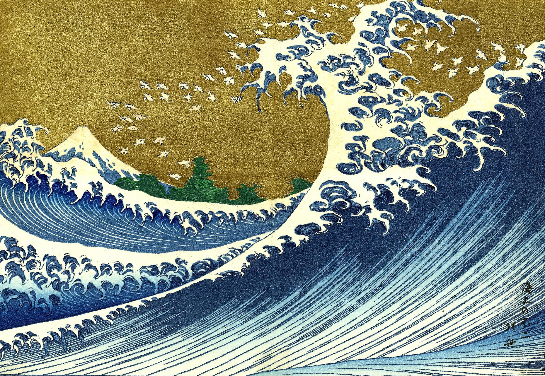 Res: 2950x2036, Japan, paintings, nature, trees, waves, The Great Wave off Kanagawa - Free  Wallpaper / WallpaperJam.com