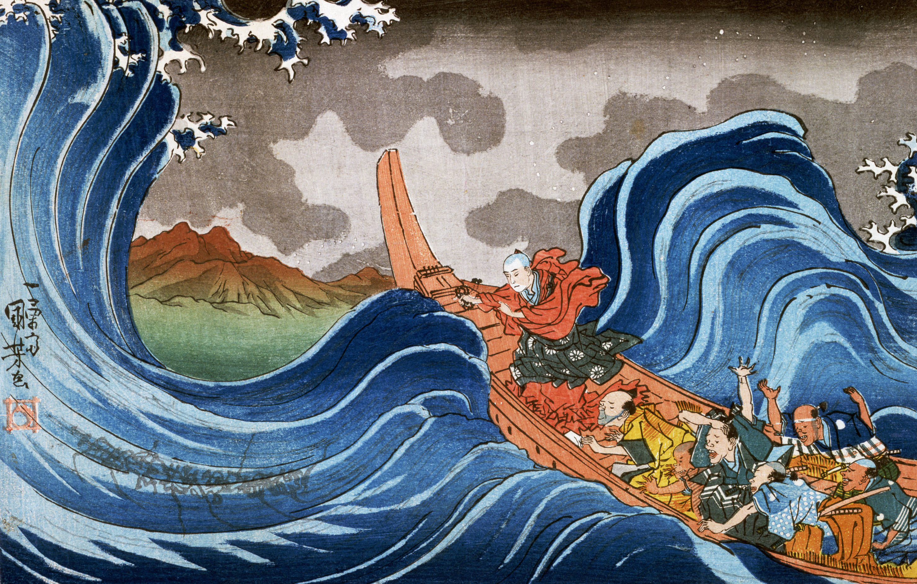 Res: 2955x1883, Artistic - Japanese Wave Monk Wallpaper