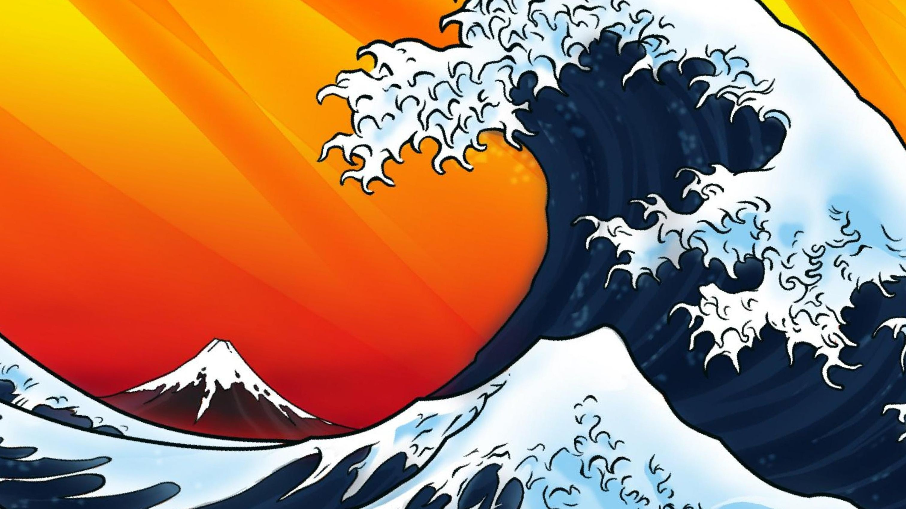 Res: 3026x1702, ... japanese wave wallpaper hokusai wallpaper the great wave wallpaper