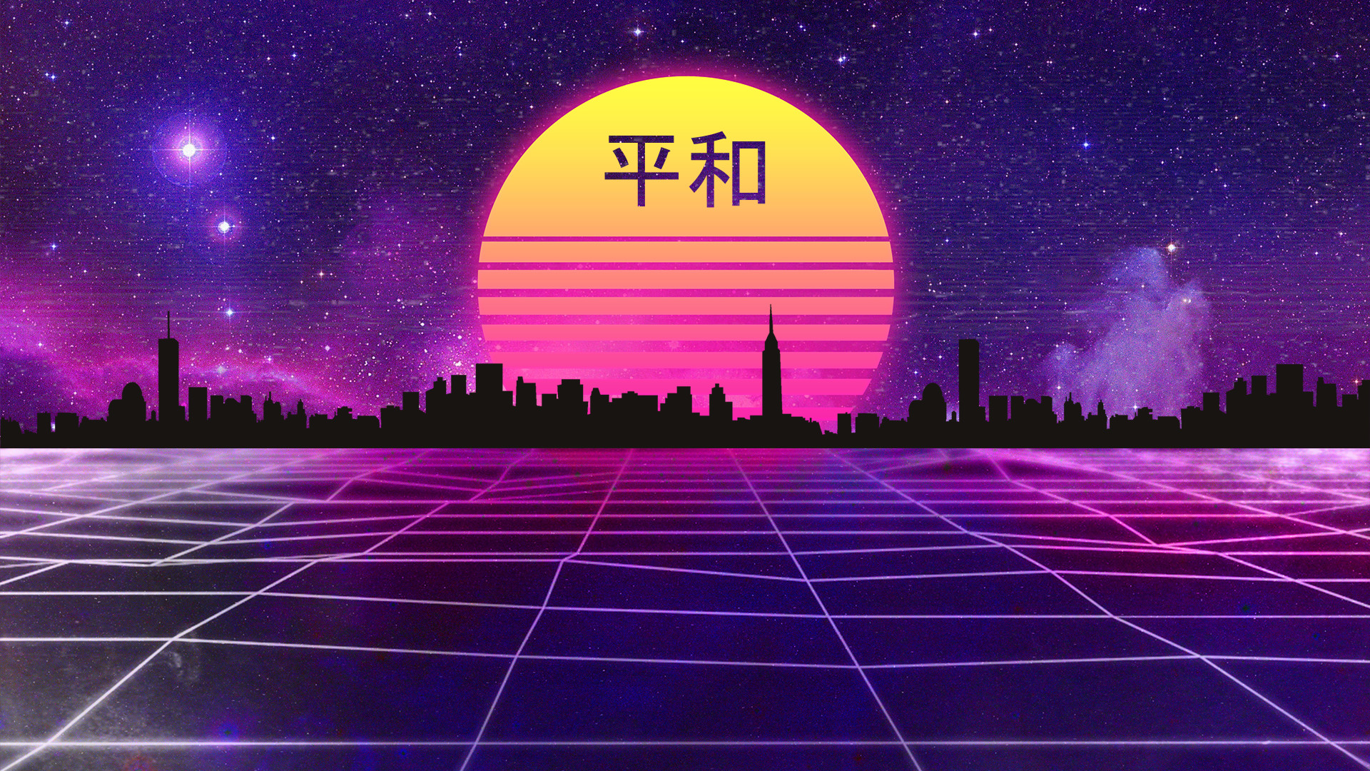 Res: 1920x1080, Retrowave Japanese Style Wallpaper by HalukAliev Retrowave Japanese Style  Wallpaper by HalukAliev