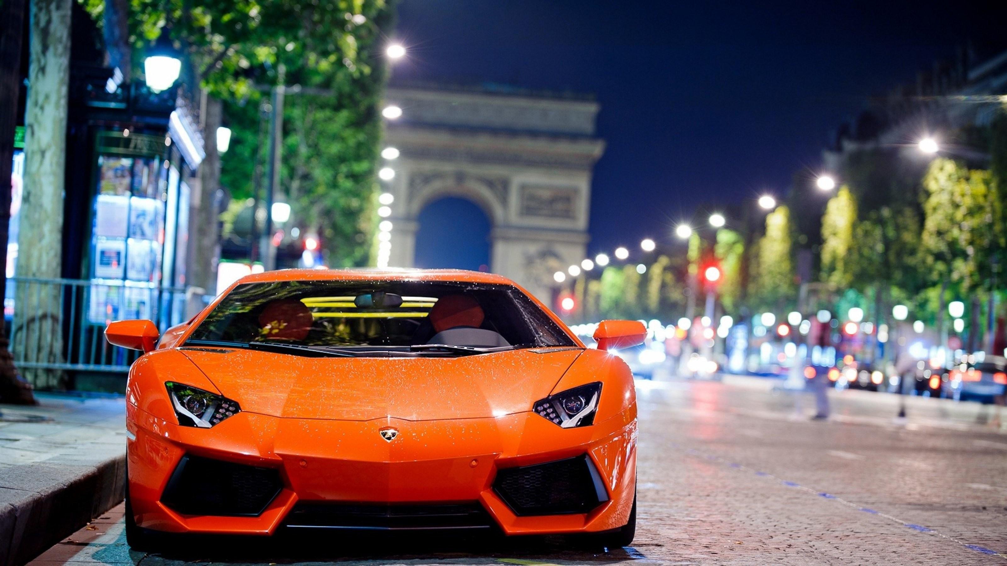 Res: 3200x1800, Night Photography Of Lamborghini Aventador In Paris Wallpaper