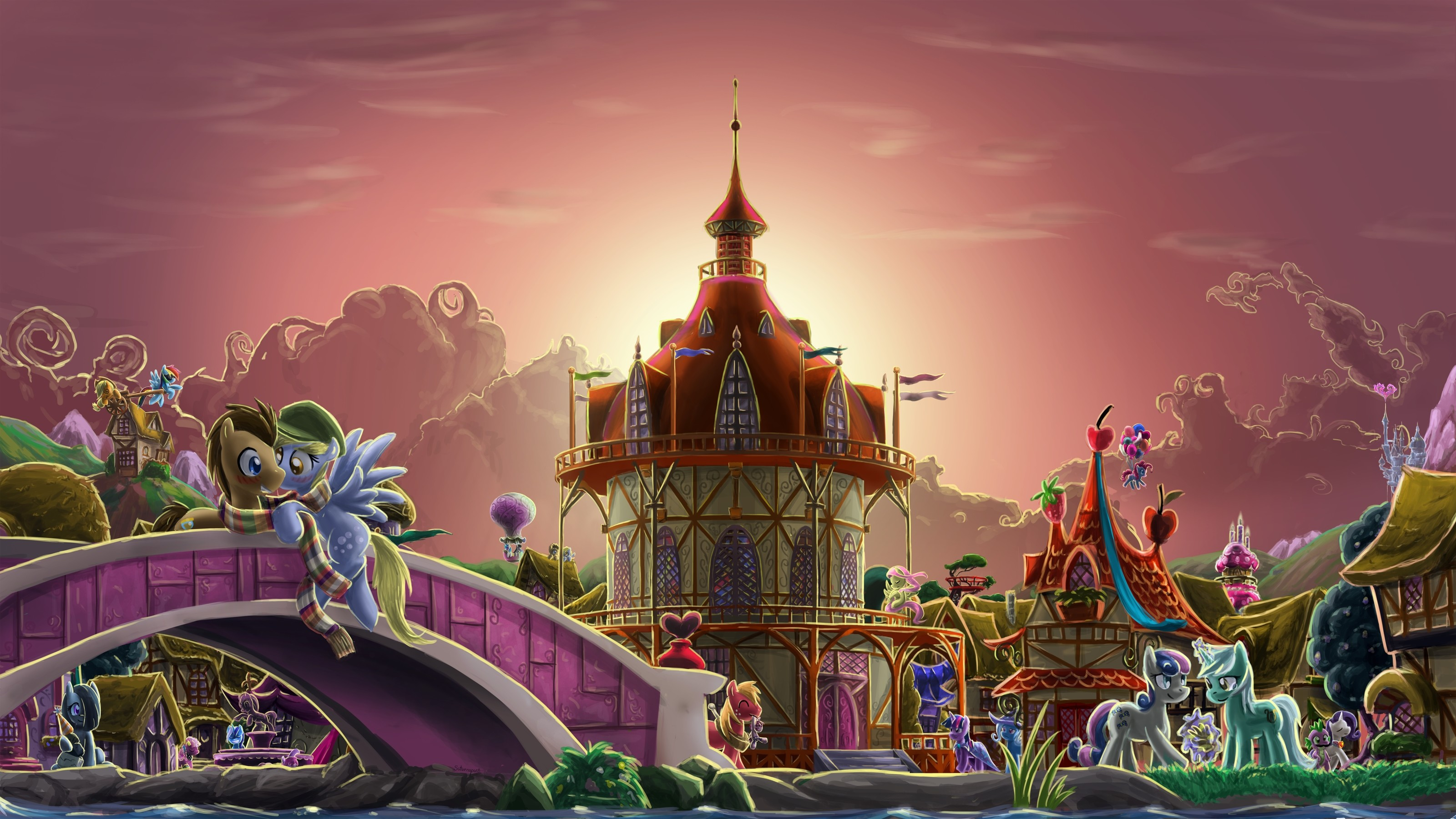 Res: 3200x1800, town my little pony ponies my little pony friendship is magic ponyville   wallpaper Art HD