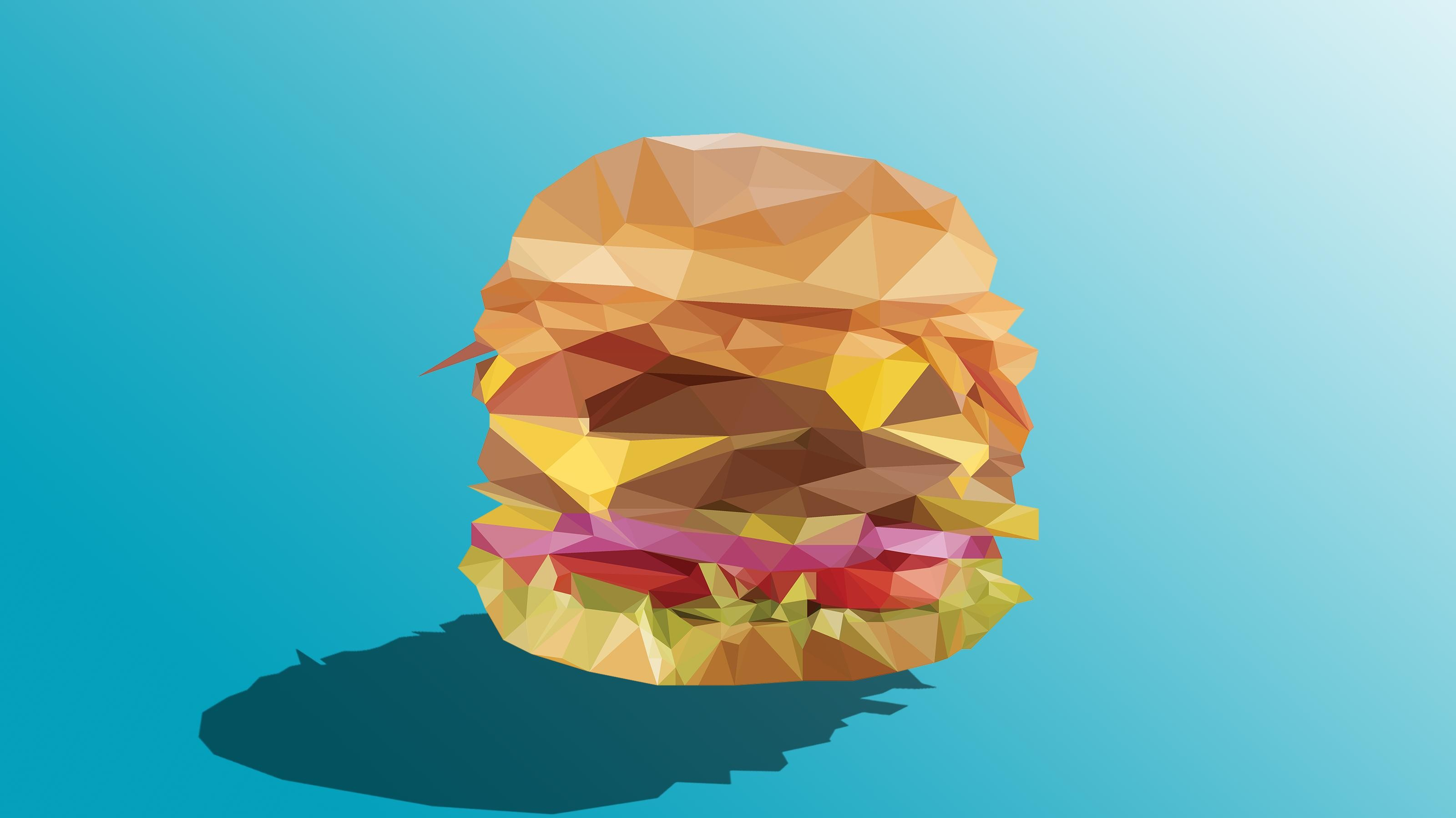 Res: 3200x1800, Low Poly Burger (3200 x 1800) ...