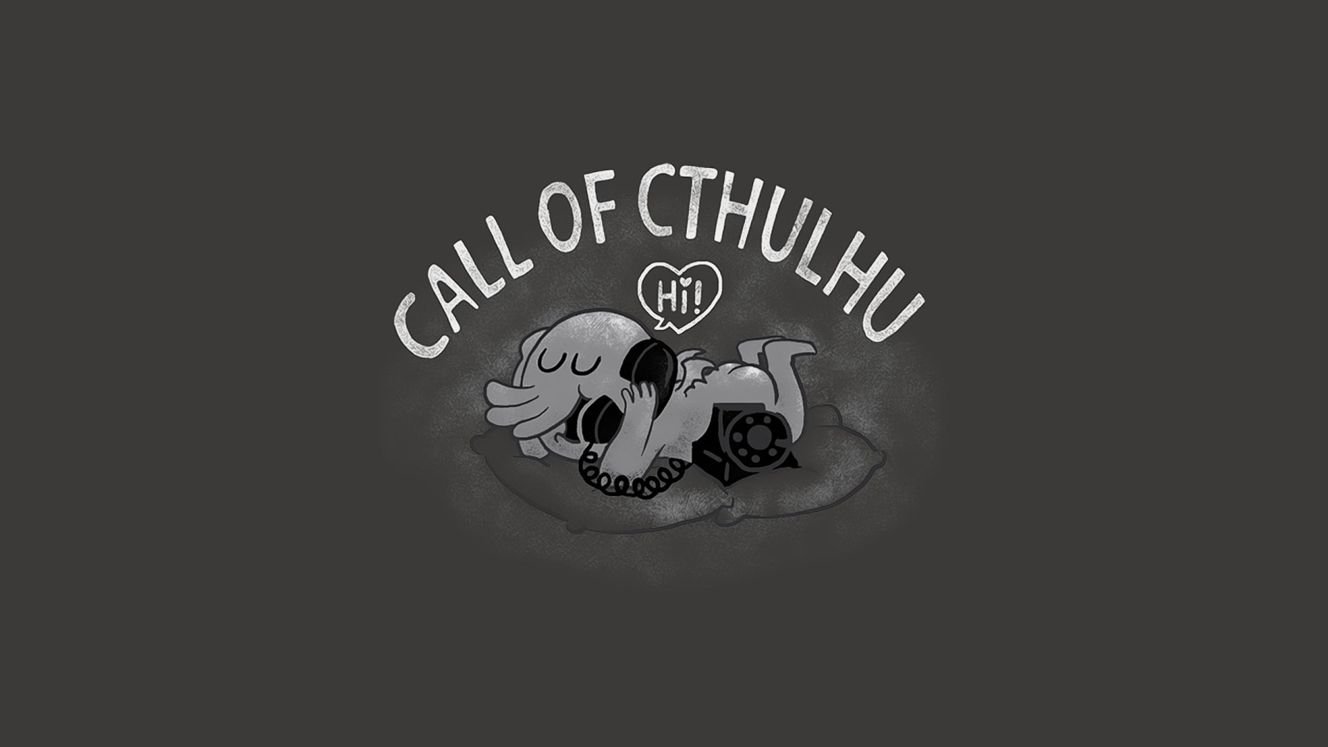 Res: 1920x1080, Humor - Fantasy Cthulhu Telephone Phone Schwarz-Weiß Call Humor Wallpaper