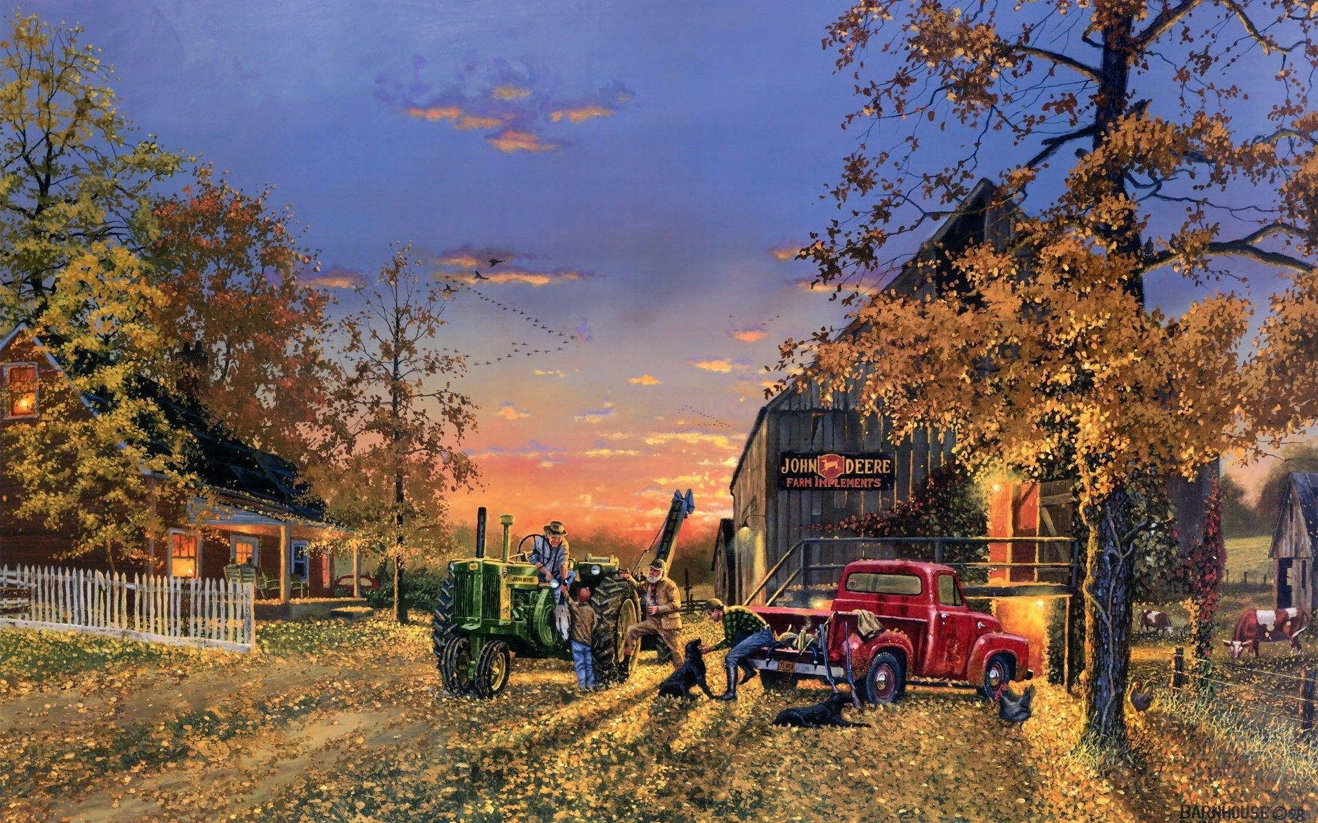 Res: 1920x1200, Dave-Barnhouse Barnhouse paintings country artistic farm vehicles tractor  people landscapes autumn fall seasons holidays thanksgiving wallpaper  background