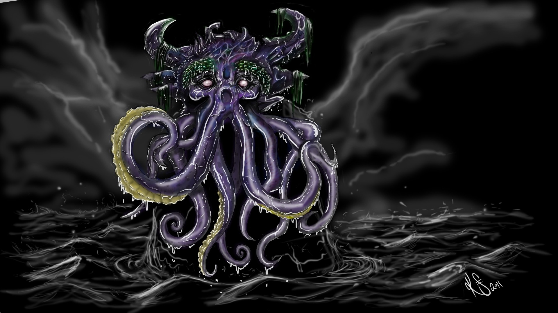 Res: 1920x1080, sea, clouds, octopus, art, monster, ocean, backgrounds, creature, waves,  cartoon wallpapers, dark, fantasy, hd artworks, sky,, cthulhu,colourful, ...