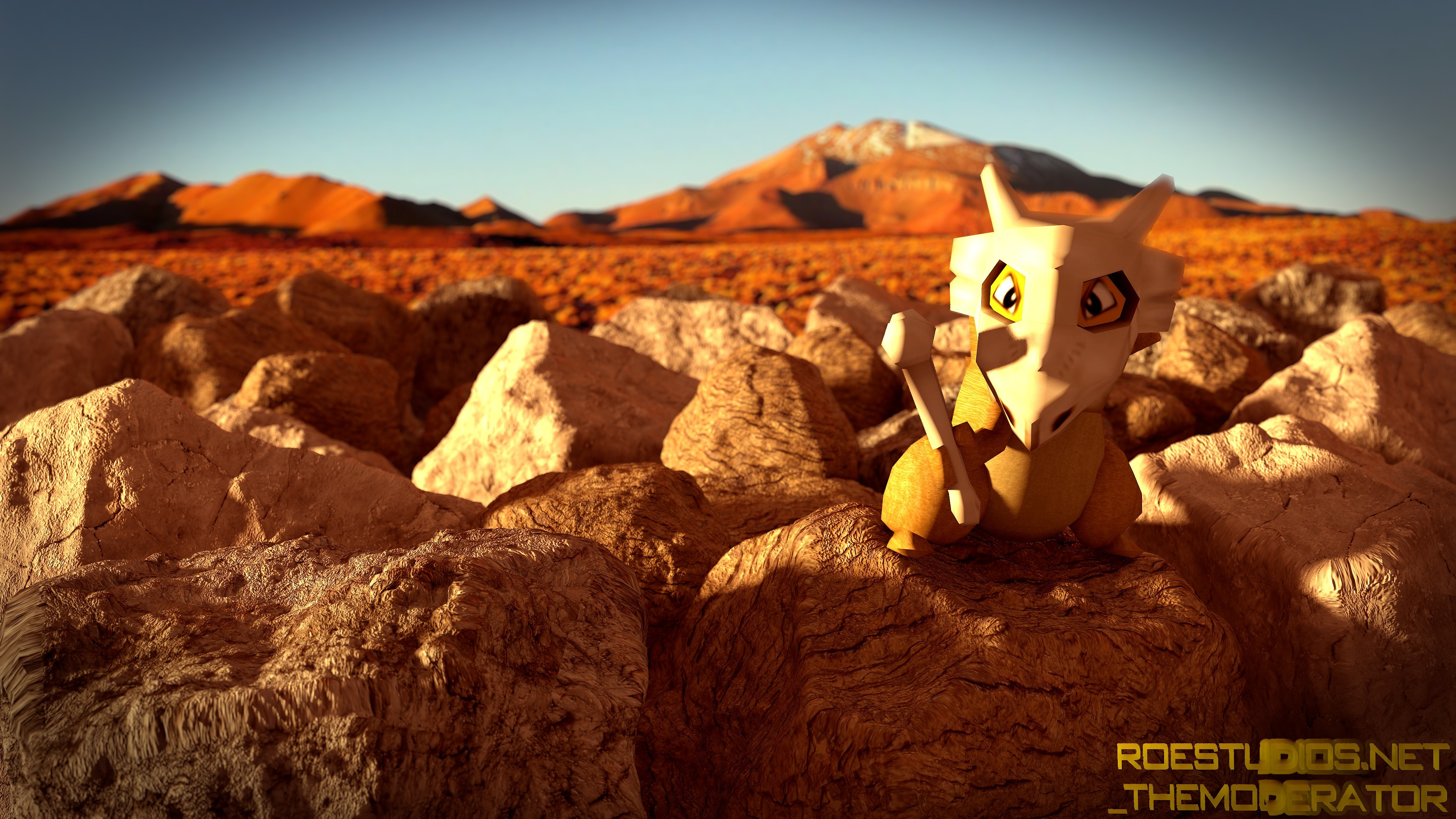 Res: 3840x2160, HD image of the Cubone 3D Model available at ROEStudios.co.uk