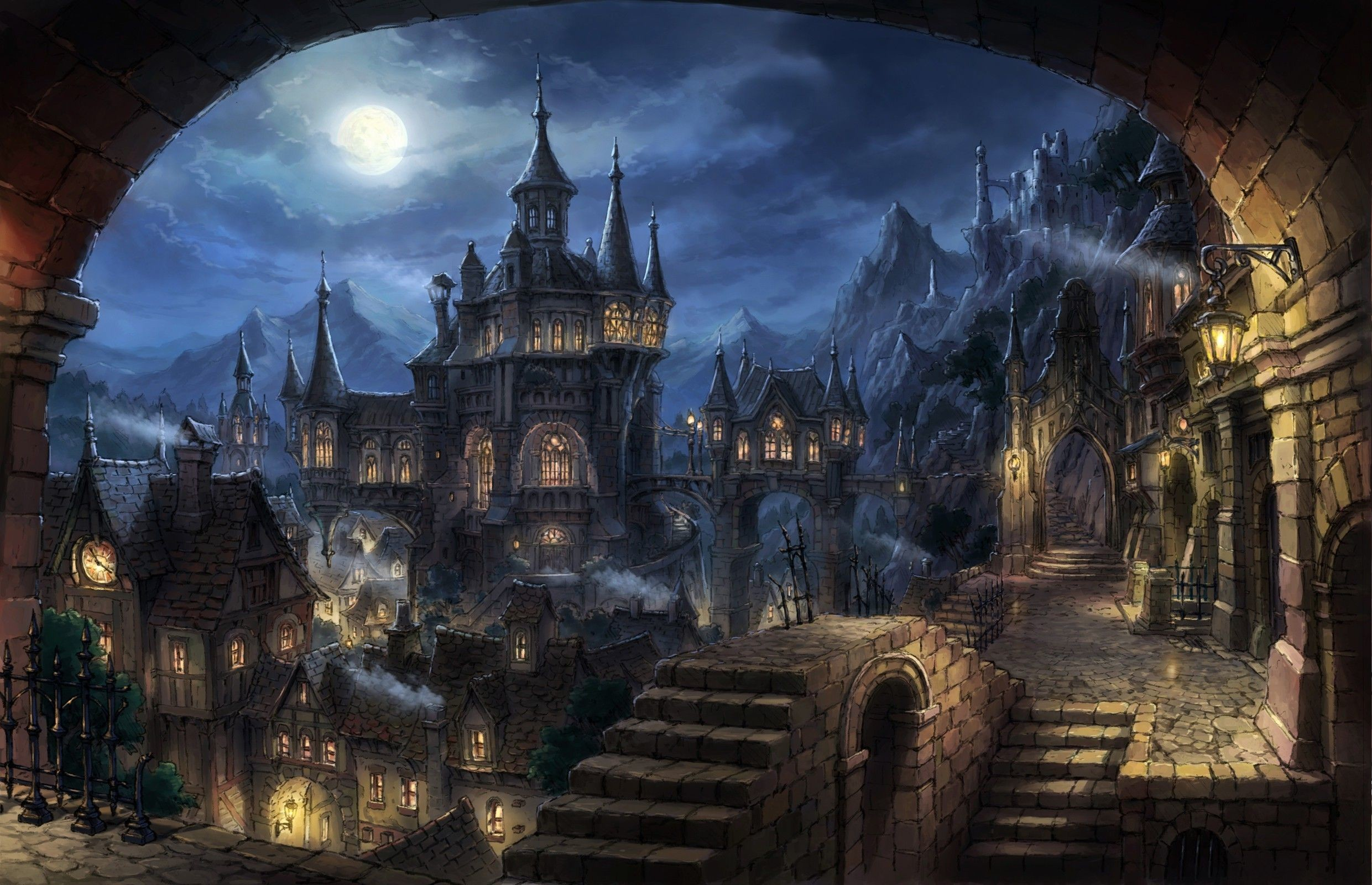 Res: 2481x1600, cityscape, Dark Fantasy, Fantasy Art Wallpaper HD