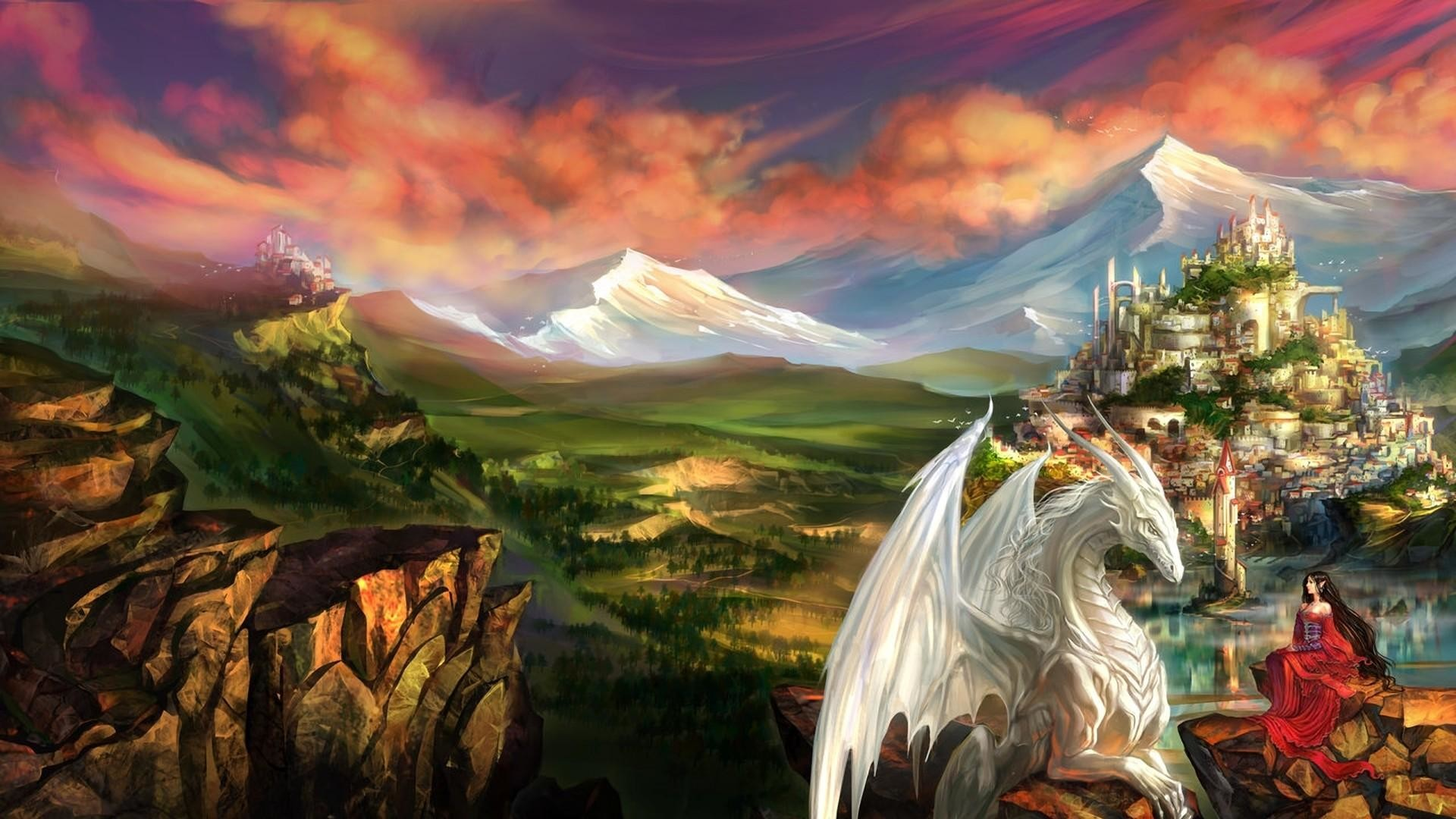 Res: 1920x1080, Dragon And Elf - Fantasy Art Wallpaper | Wallpaper Studio 10 | Tens of  thousands HD and UltraHD wallpapers for Android, Windows and Xbox