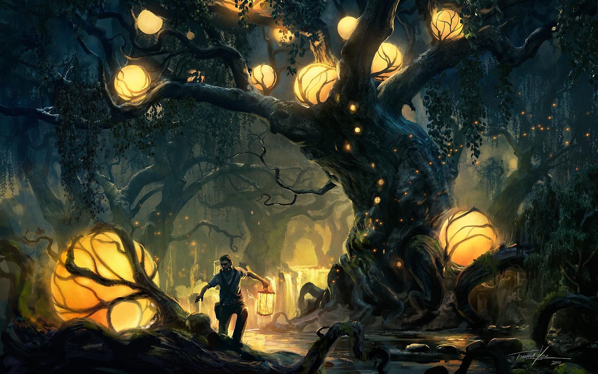 Res: 1920x1200, Trees lights forest fantasy art wallpaper