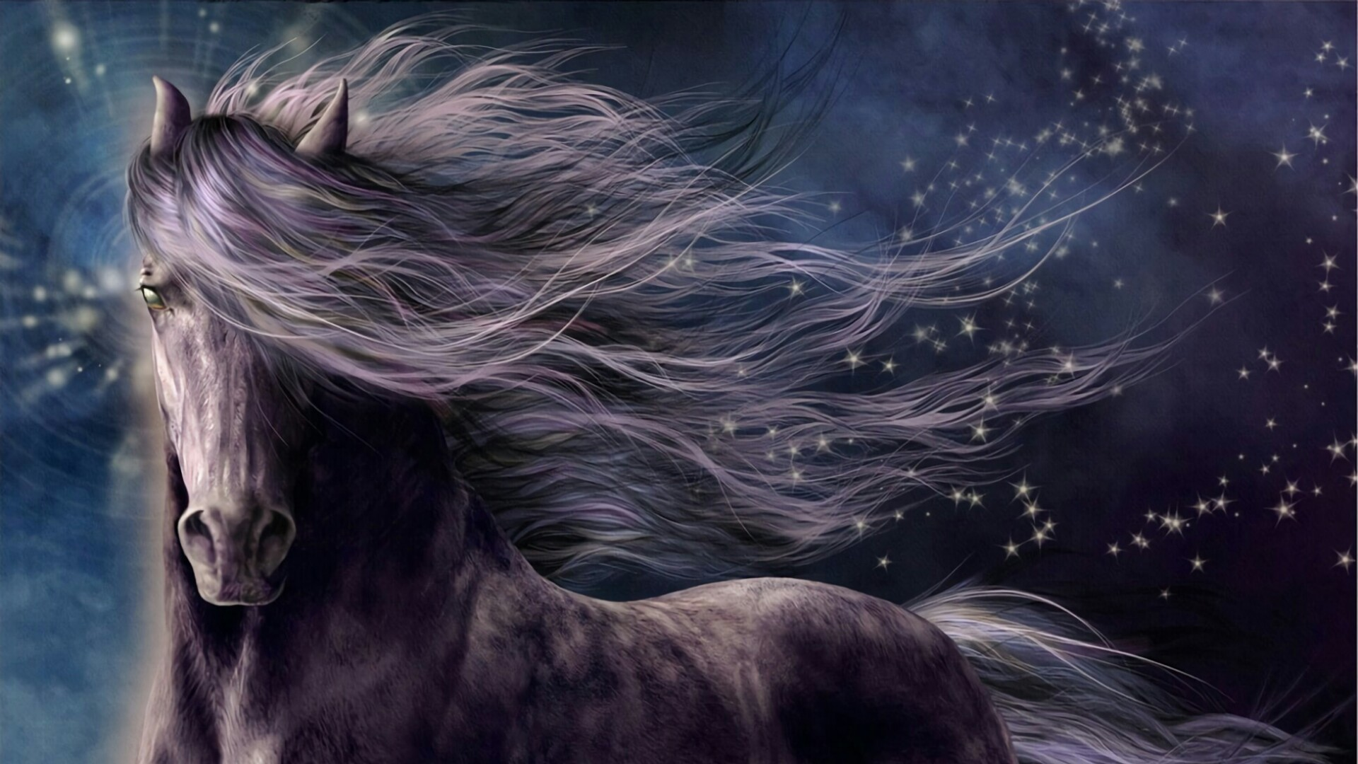 Res: 1920x1080, Dreamy Horse With Stars - Fantasy Art Wallpaper | Wallpaper Studio 10 |  Tens of thousands HD and UltraHD wallpapers for Android, Windows and Xbox