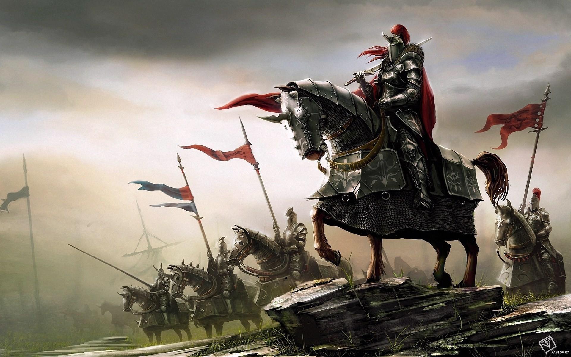 Res: 1920x1200, fantasy-art-knights-warriors-horses-hd-wallpaper