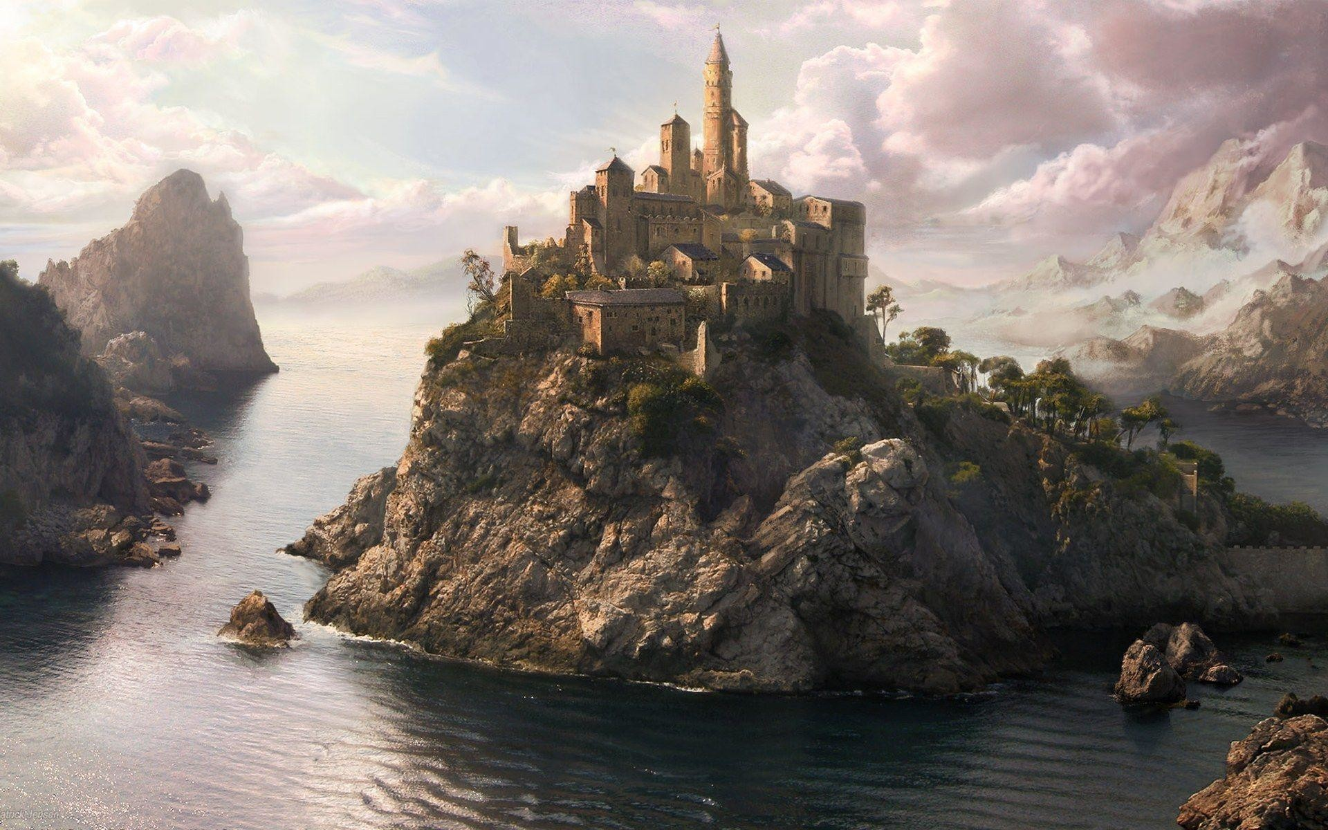 Res: 1920x1200, Awesome 3D Fantasy Art Home Island Wallpaper H #2972 Wallpaper .