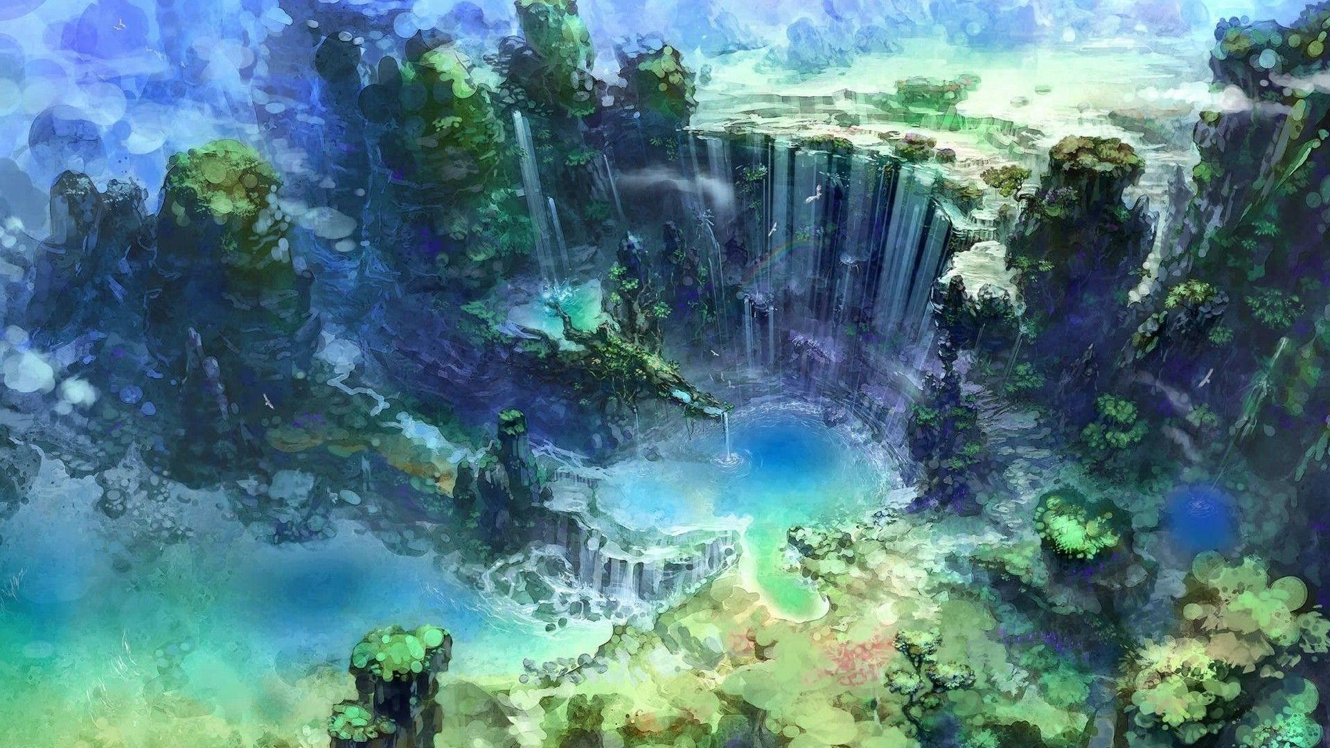 Res: 1920x1080,  artwork, Fantasy Art, Waterfall, Water, Nature Wallpaper HD