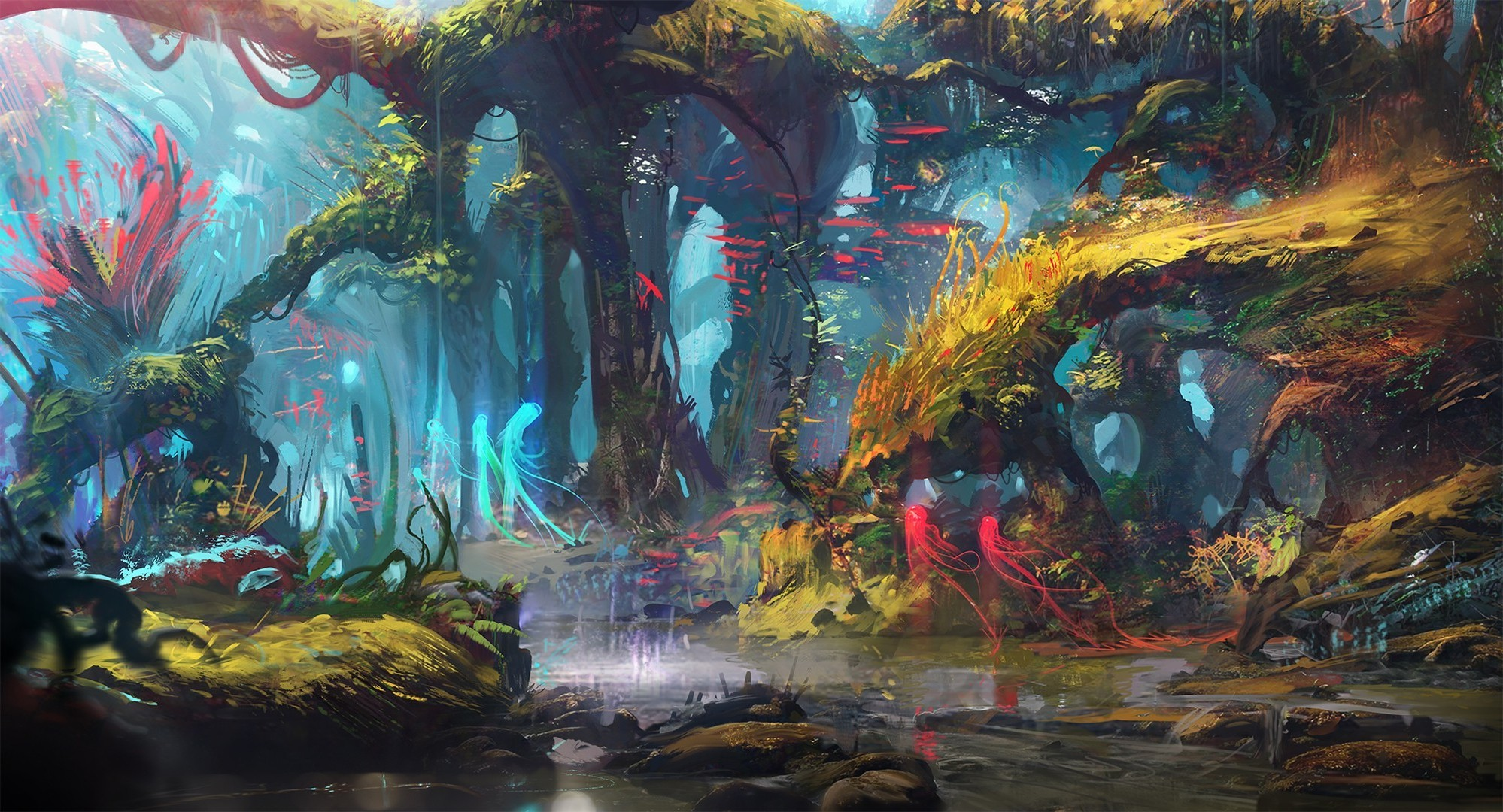 Res: 1998x1080, drawing digital art forest lake trees fantasy art exphrasis wallpaper and  background