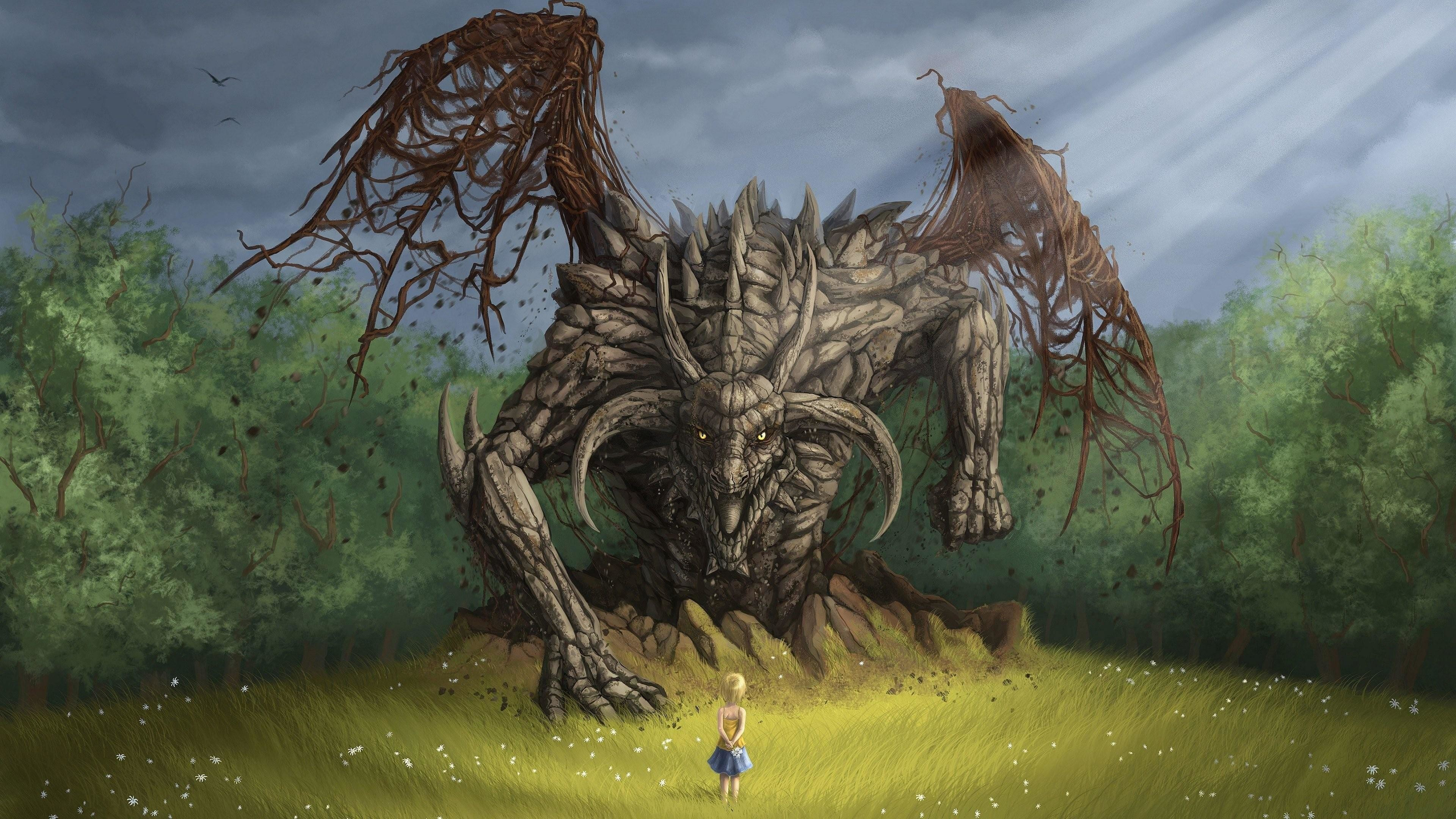 Res: 3840x2160, Advice Scary Dragon Pictures And A Little Girl Fantasy Art Wallpaper