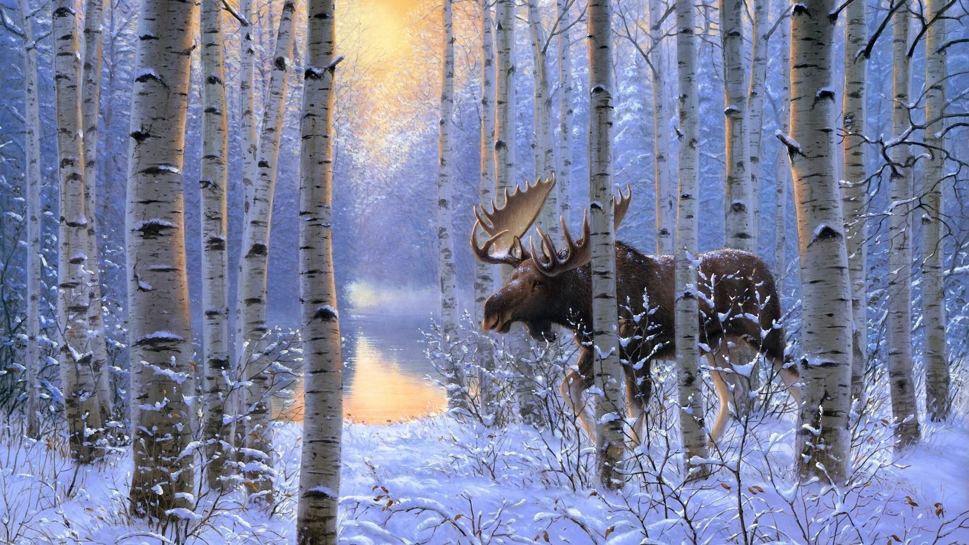 Res: 1920x1080, Moose In The Snowy Birch Forest - Painting Art Wallpaper | Wallpaper Studio  10 | Tens of thousands HD and UltraHD wallpapers for Android, Windows and  Xbox