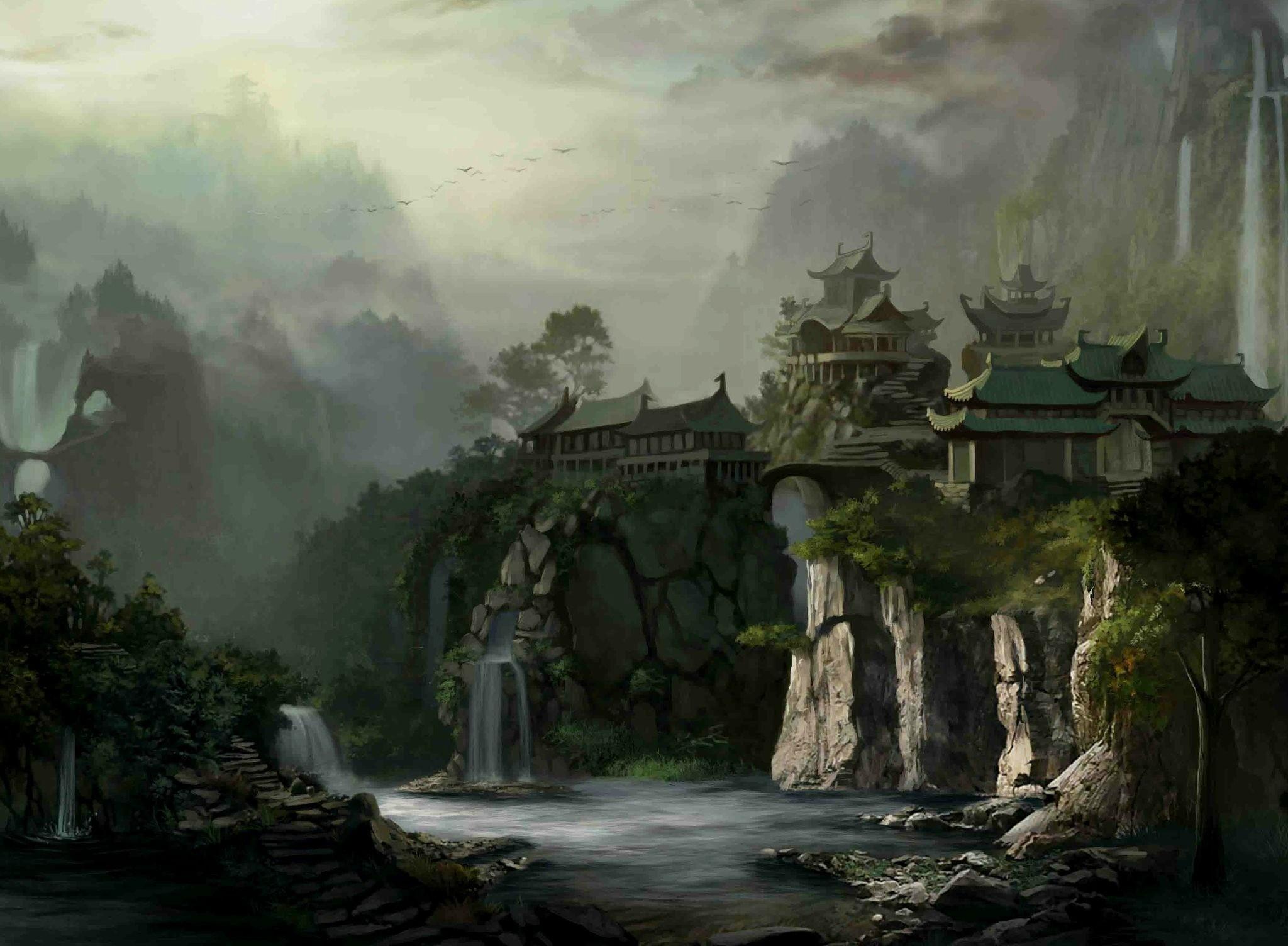Res: 2048x1504, Artistic - Oriental Waterfall Tree Lake Wallpaper