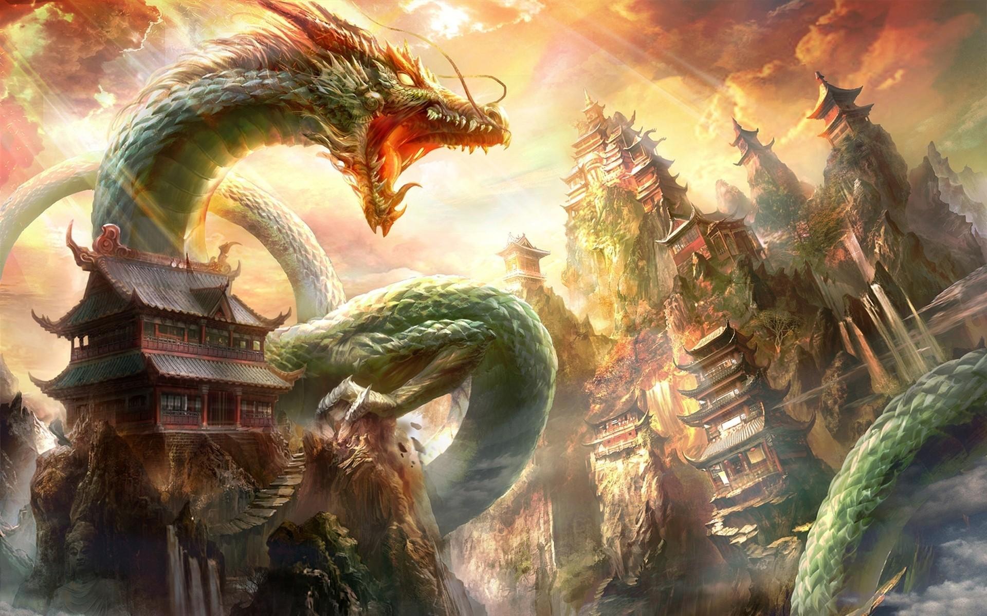 Res: 1920x1200, Oriental Dragon Wallpaper