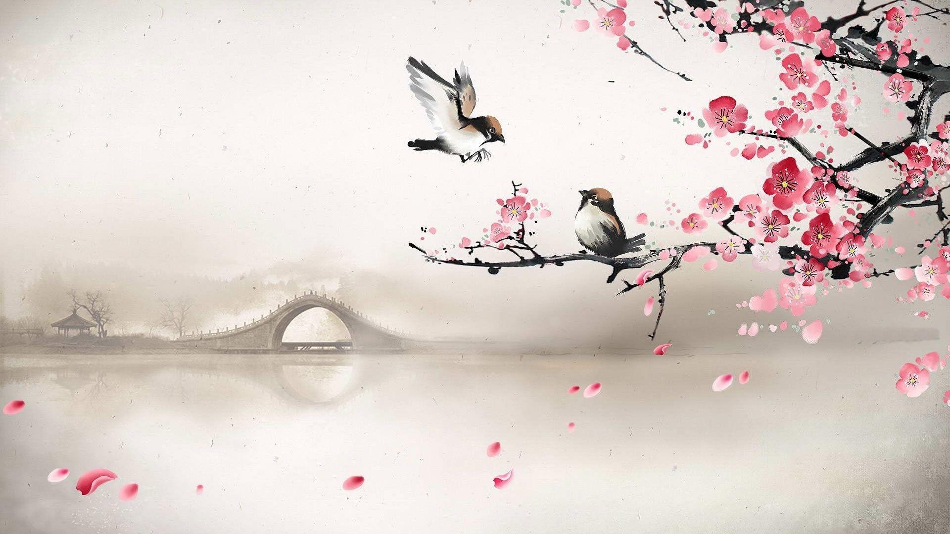 Res: 1920x1080, Art asian oriental flowers blossom bridges wallpaper |  .