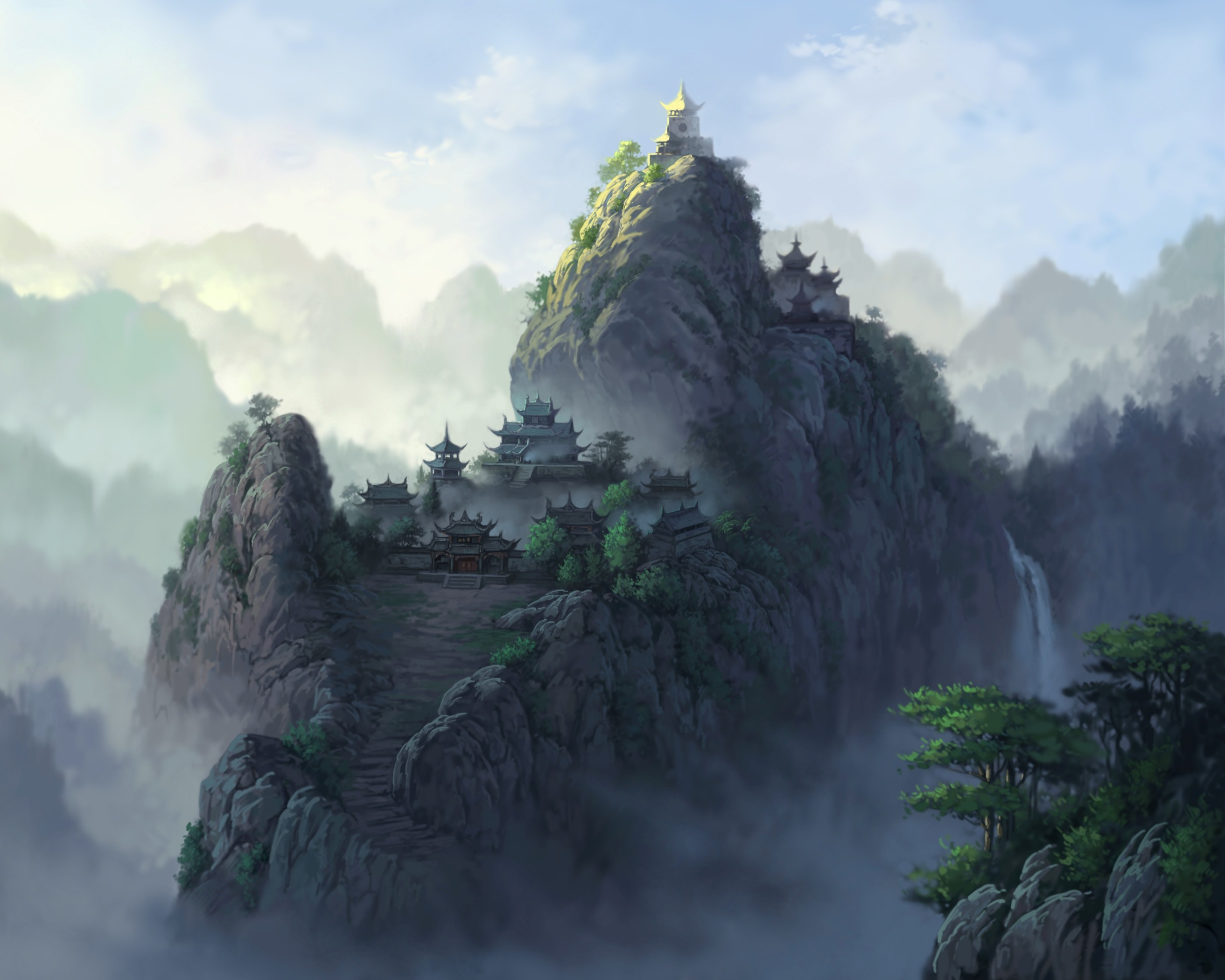 Res: 2625x2100, Landscapes castles asian oriental mountains waterfalls trees sky fog  wallpaper |  | 37915 | WallpaperUP