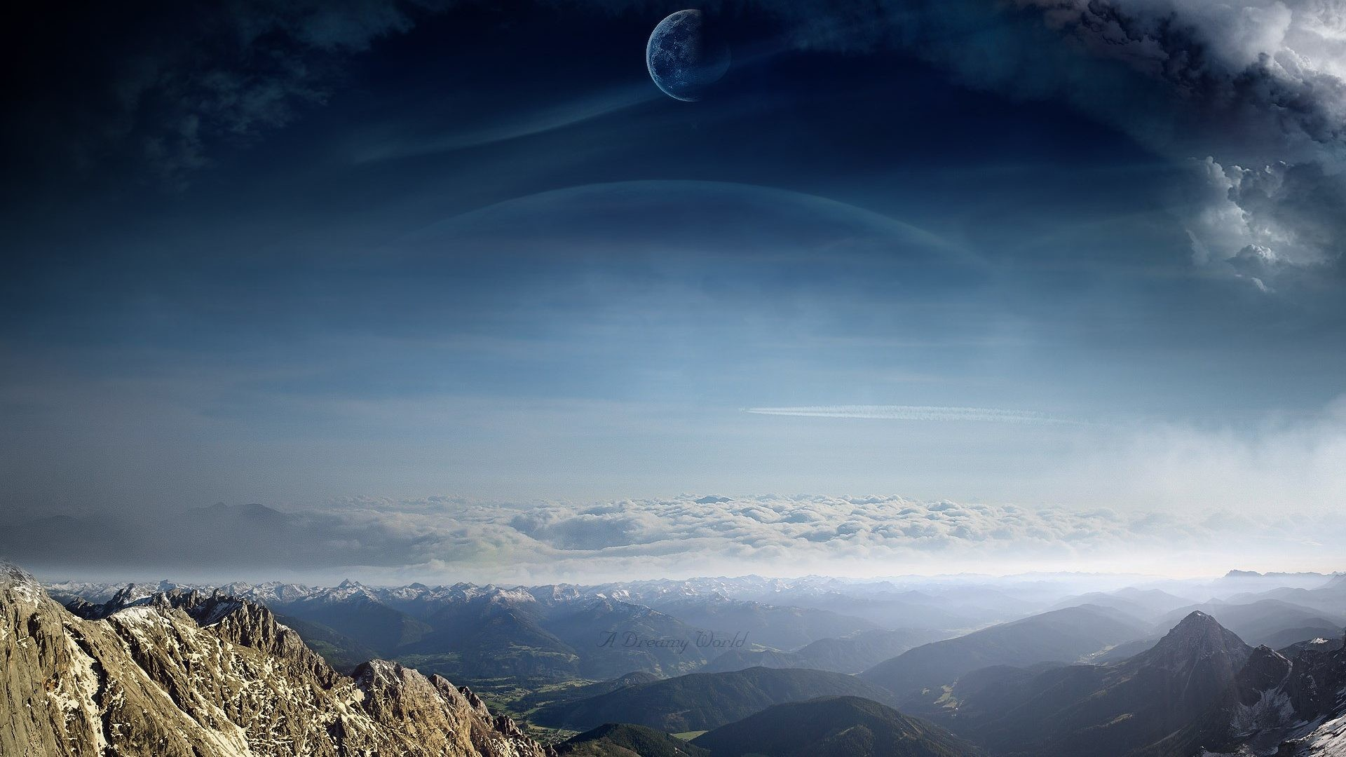 Res: 1920x1080, Dreamy Digital Moons Skies Alien Planets Scenic Art Sci Clouds Mountains  Landscapes Manipulations Hd Nature Portrait Wallpapers Detail