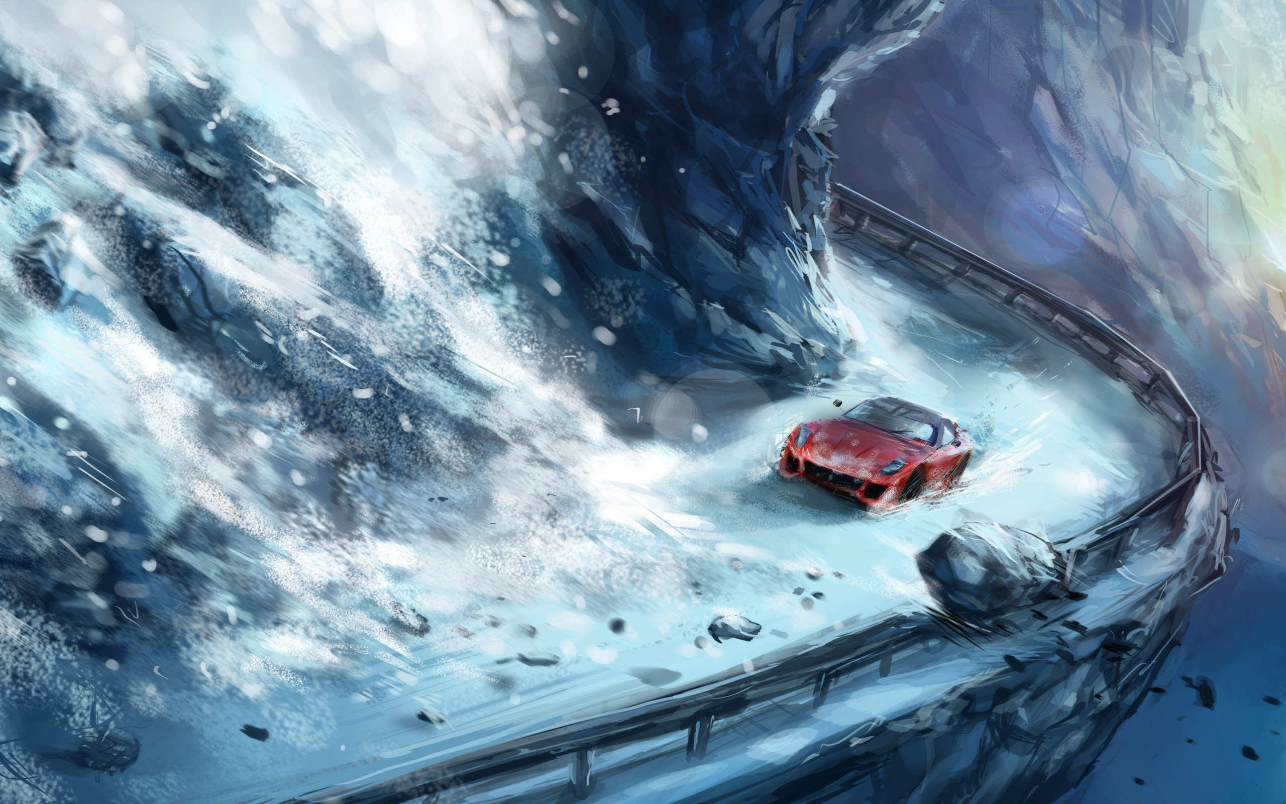 Res: 2560x1600, Mountain Avalanche Stones Snow Road Red Car Art