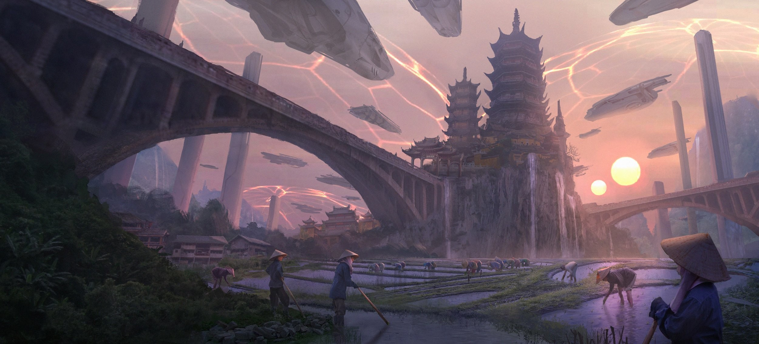 Res: 2500x1134, fantasy, city,android, sunset,china full hd wallpapers, bridge, asian, hd,  wallpaper hd mobile, free artworks, sunrise, castle, oriental, cities  Wallpaper ...