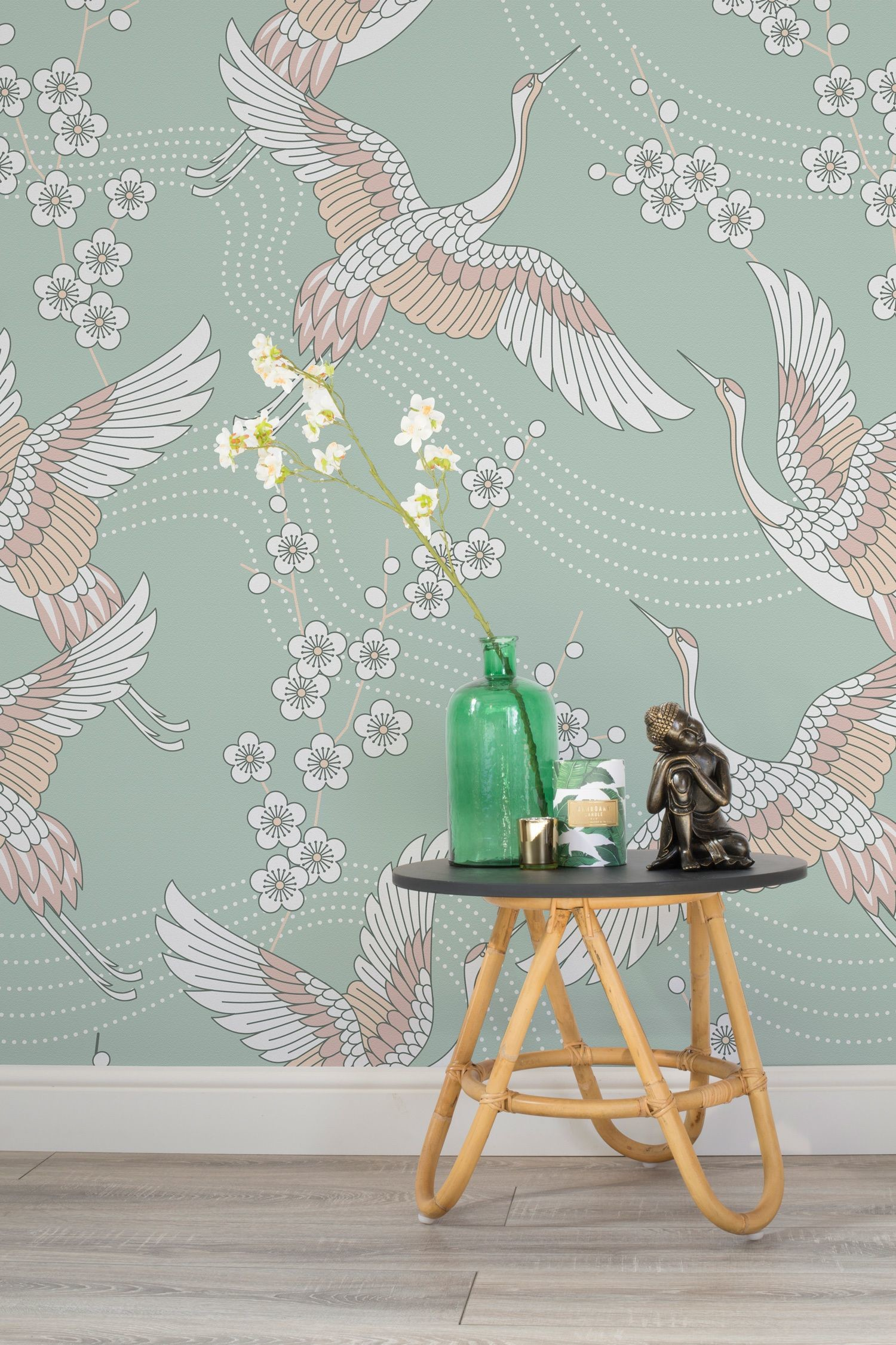 Res: 1500x2250, This oriental wallpaper design features a simple duck egg colour contrasted  with varying shades of pink. Accompany with simple, earthy materials such  as ...