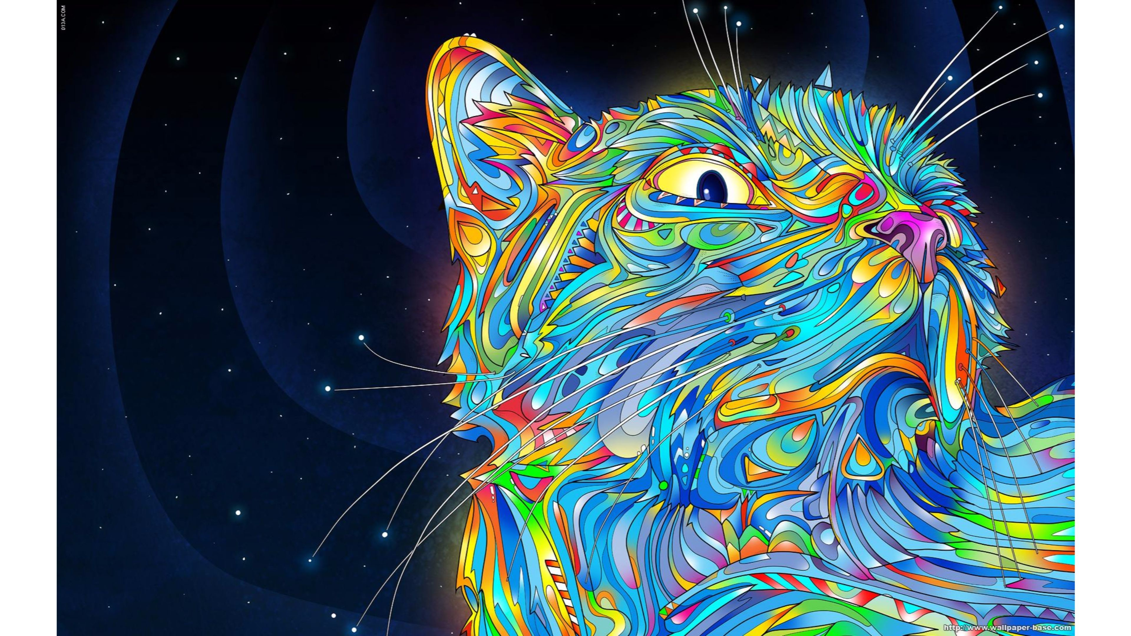 Res: 3840x2160, Cool Cat Abstract 4K Wallpaper