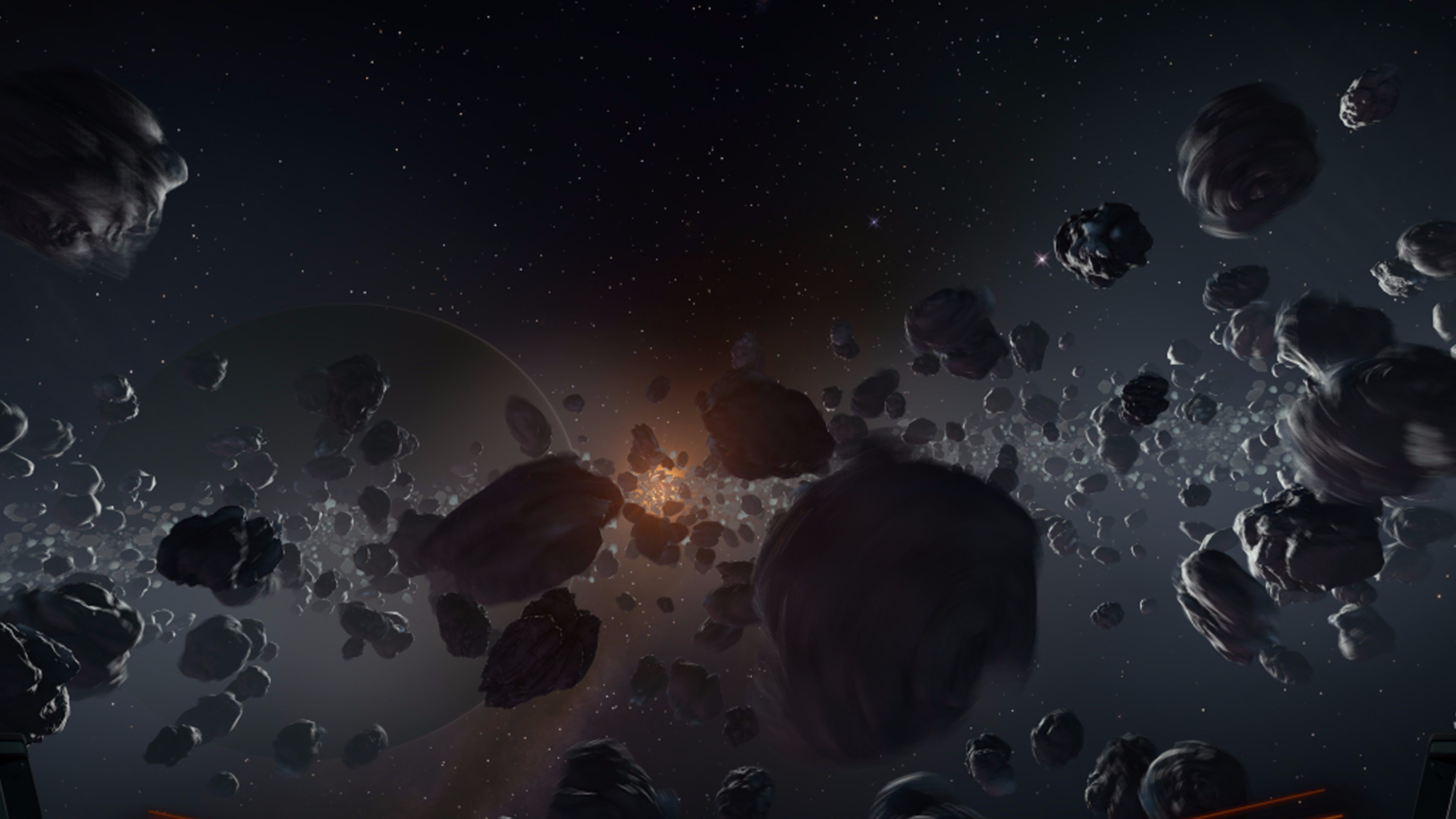 Res: 3840x2160, Cool Asteroid Cluster 4K Wallpaper