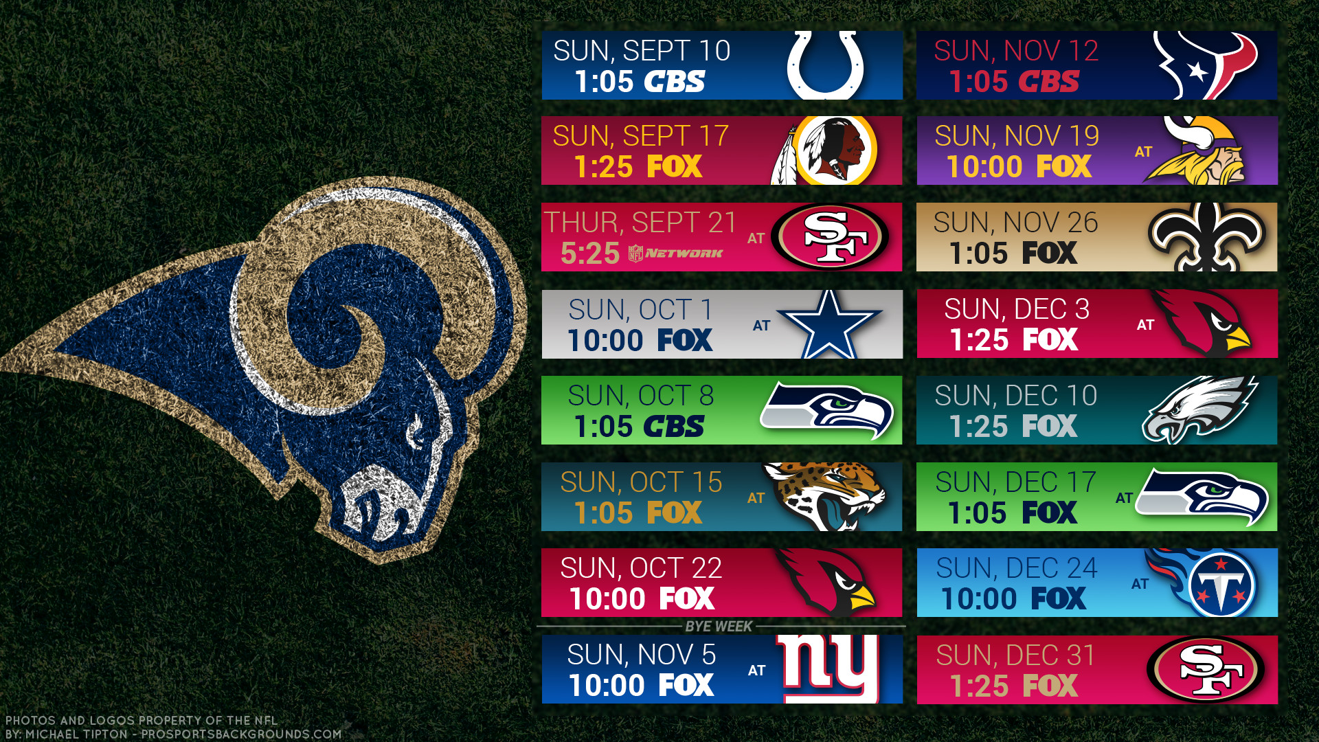 Res: 1920x1080, Los Angeles Rams 2017 schedule turf football logo wallpaper free pc desktop  computer ...