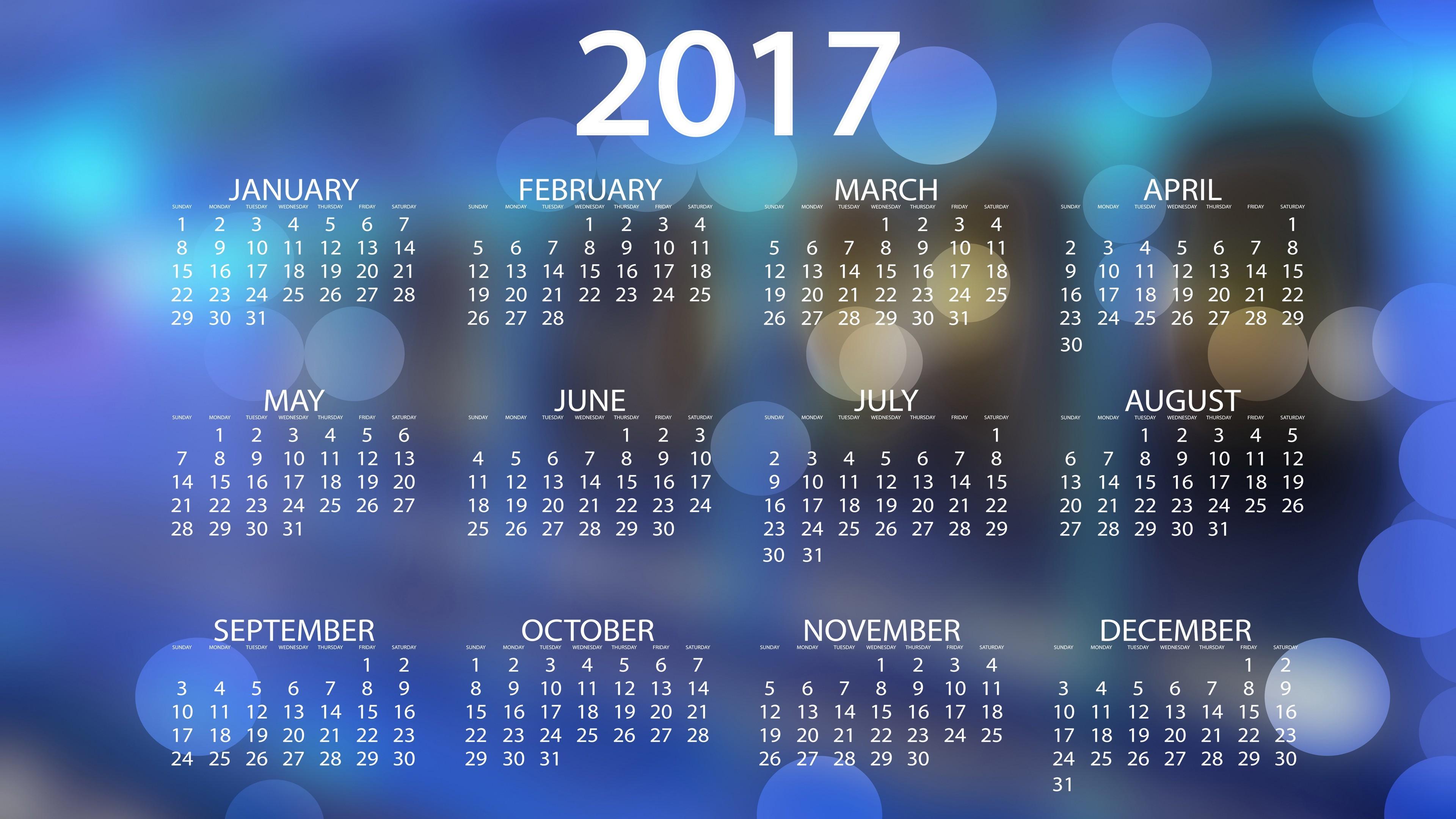 Res: 3840x2160, 2017 Calendar Desktop Backgrounds