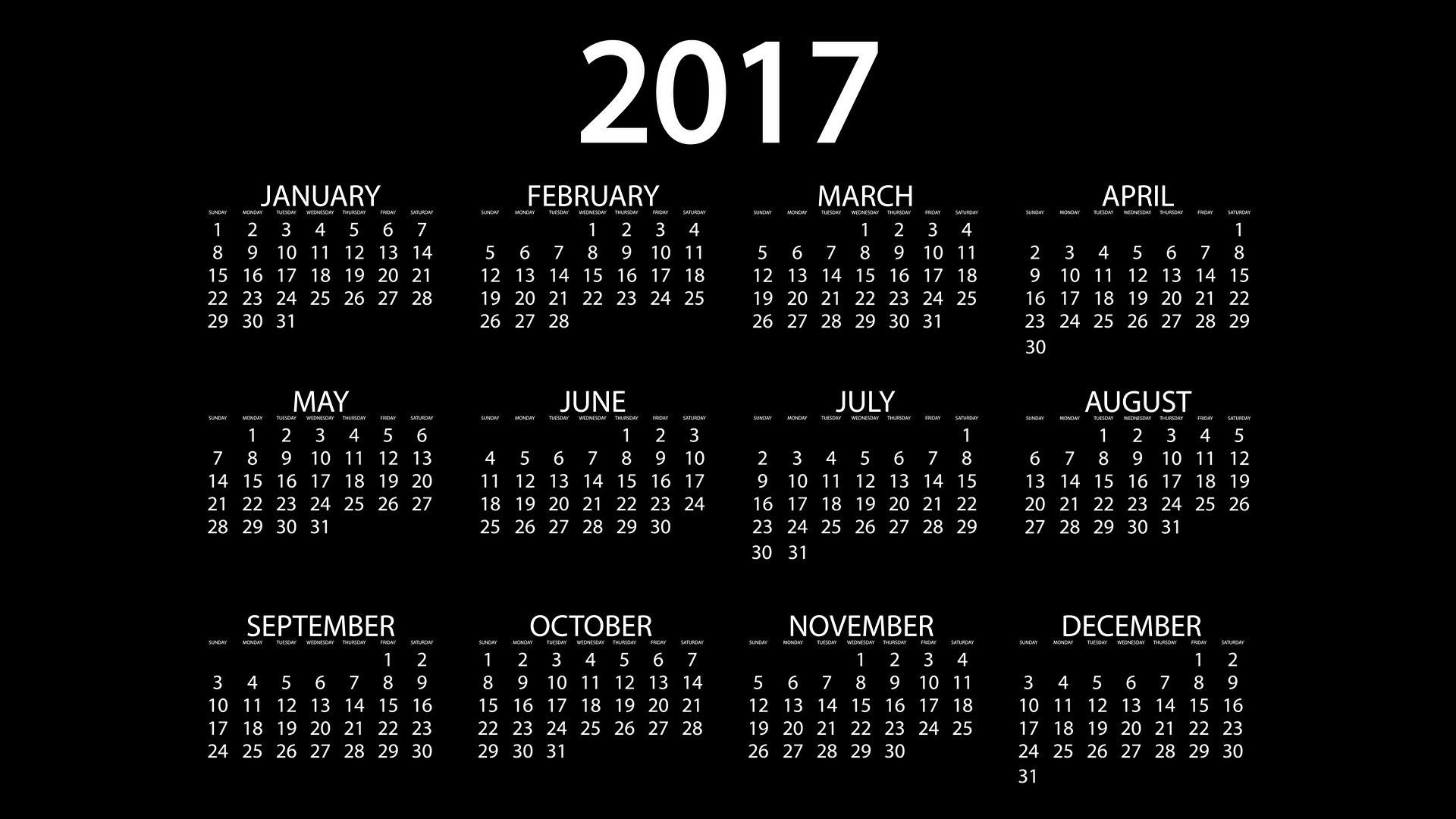 Res: 1920x1080,  Fotos 2017 Englisch Kalender Schwarzer Hintergrund