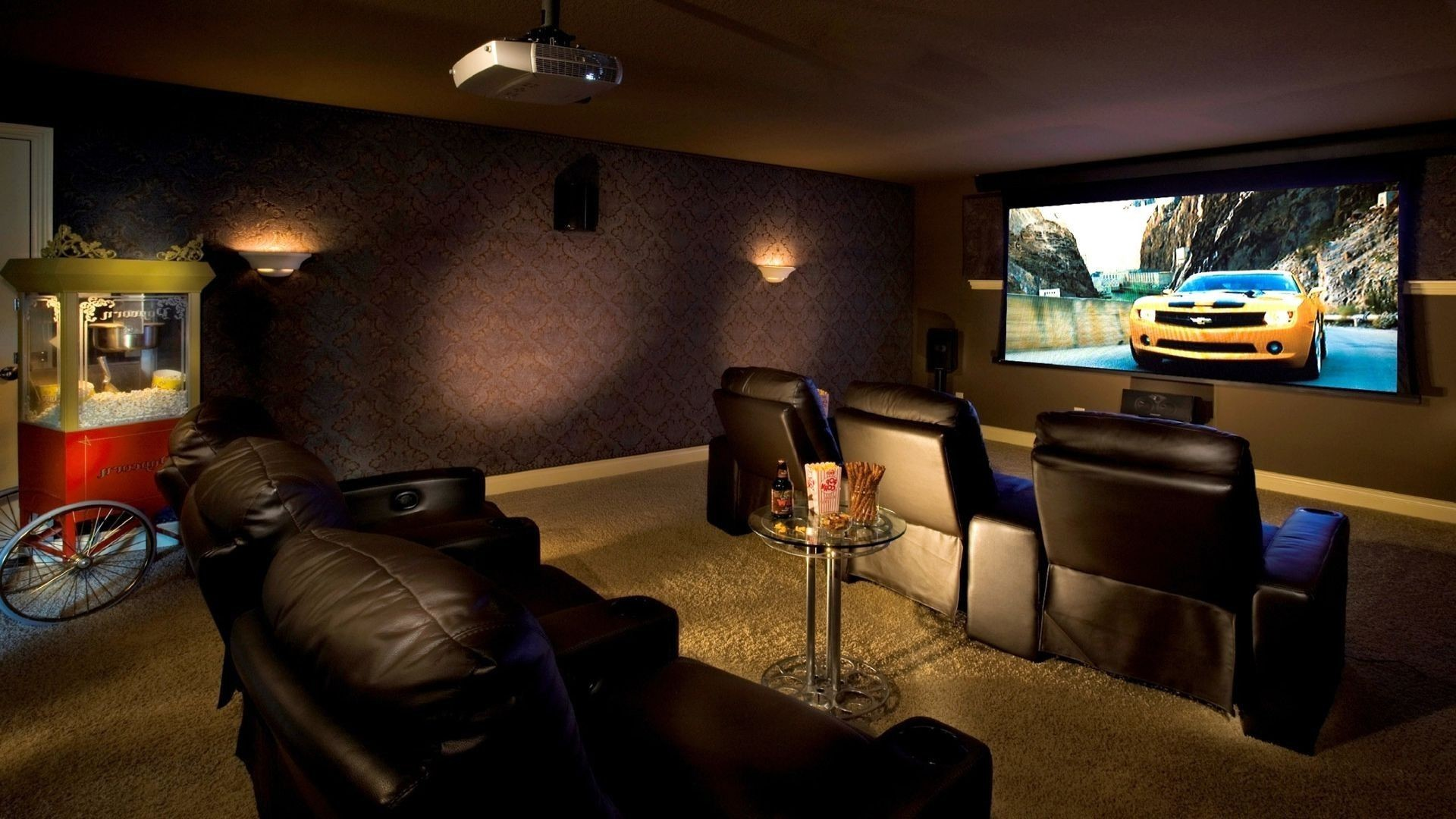 Res: 1920x1080, Download Wallpaper Interior, Home, Cinema, Sofas, Cushions, Tables